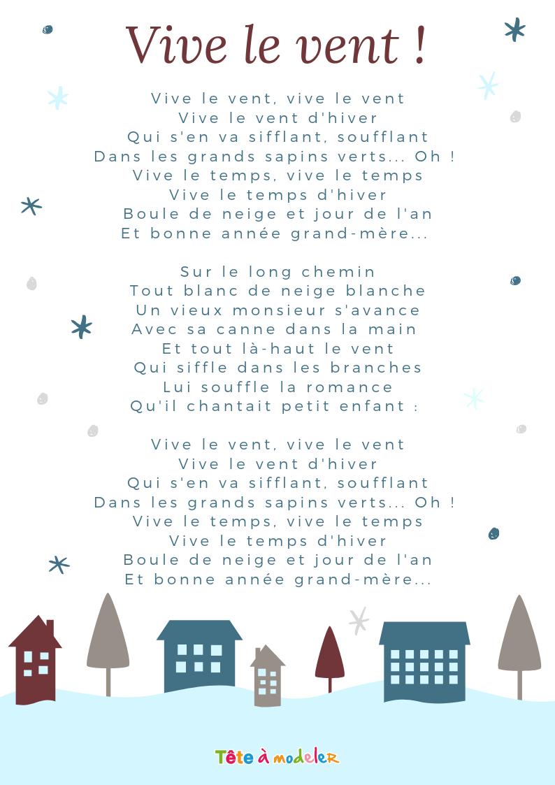 Imprimer La Chanson Vive Le Vent Carnet Chants - Chanson intérieur Chanson De Noel Ecrite