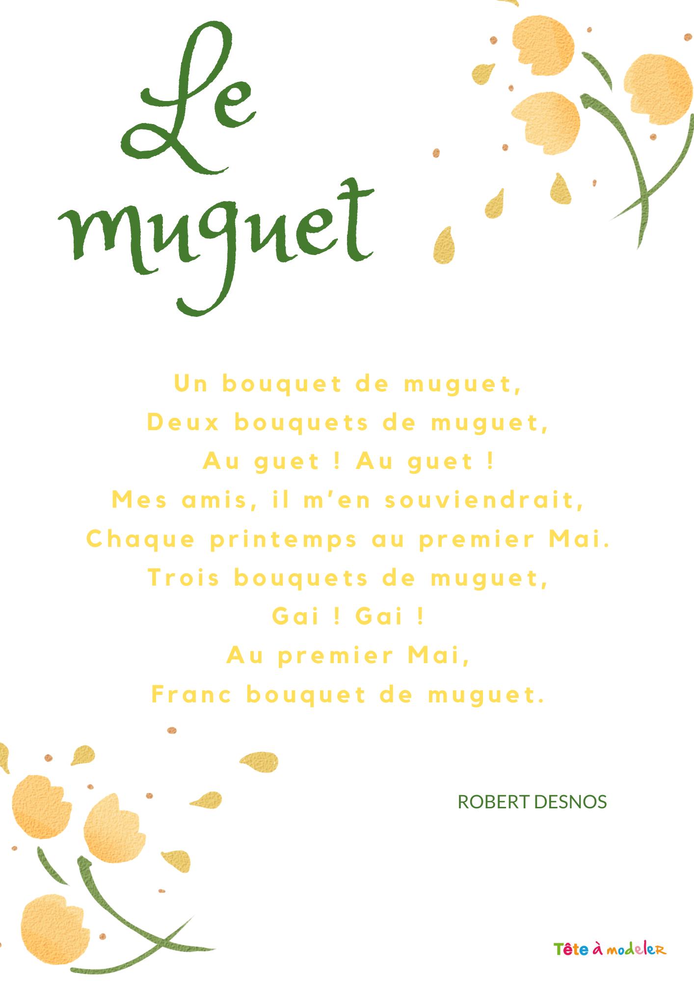 Imprimer La Poésie De Robert Desnos Le Muguet - Chanson encequiconcerne Poème De Robert Desnos