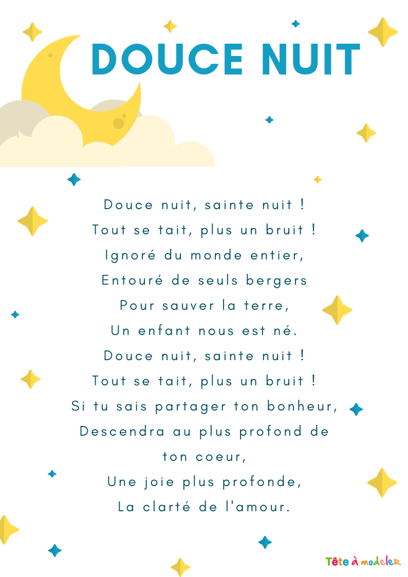 Imprimer Une Chanson Douce Nuit Illustrée - Chanson Noel intérieur Chanson De Noel En Chinois