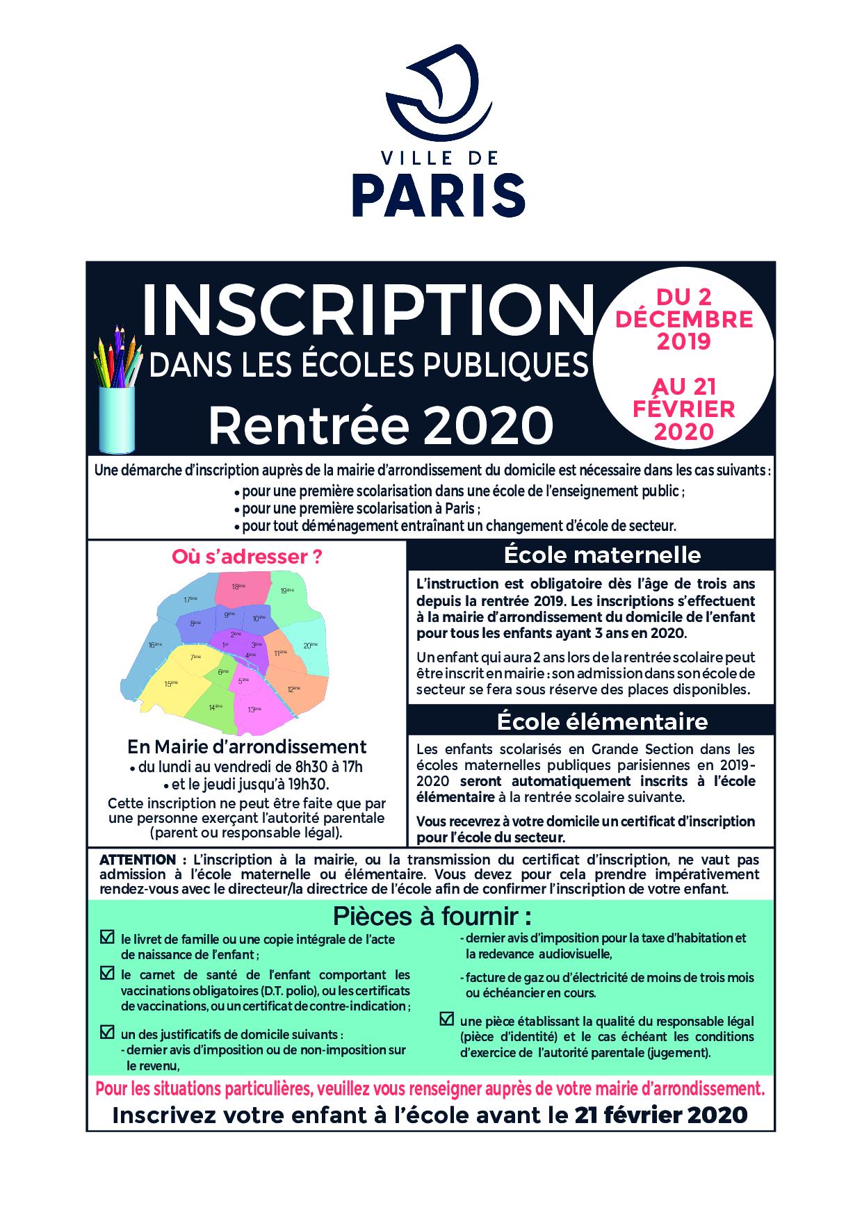 Inscriptions À L'école - Mairie Du 15E à Grande Section Maternelle Age