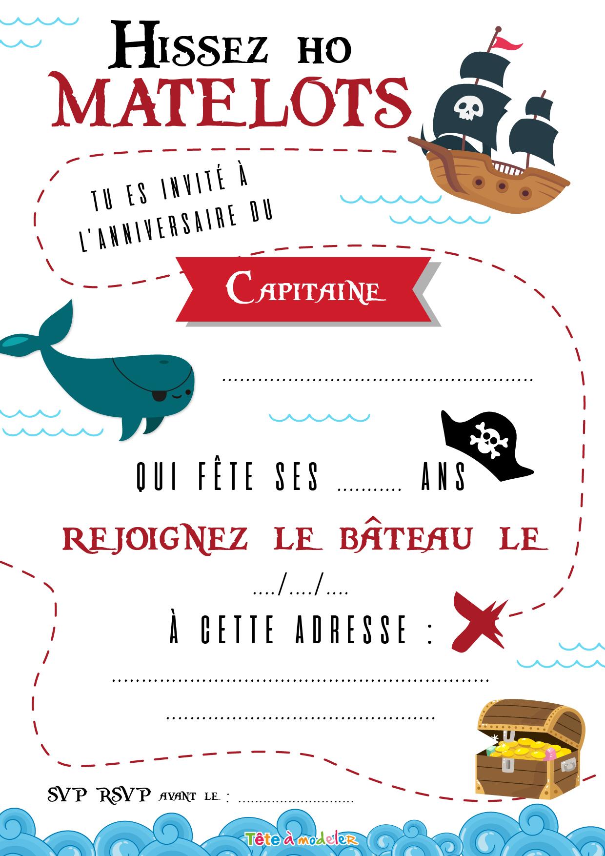 Invitation De Pirate Par Tête À Modeler dedans Histoires De Pirates Gratuit
