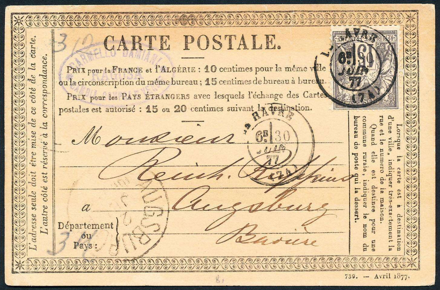 "Italy (Sicily), Sizilien 1877, Forwarded-Karte Von ""carmello serapportantà Carte Numero Departement"