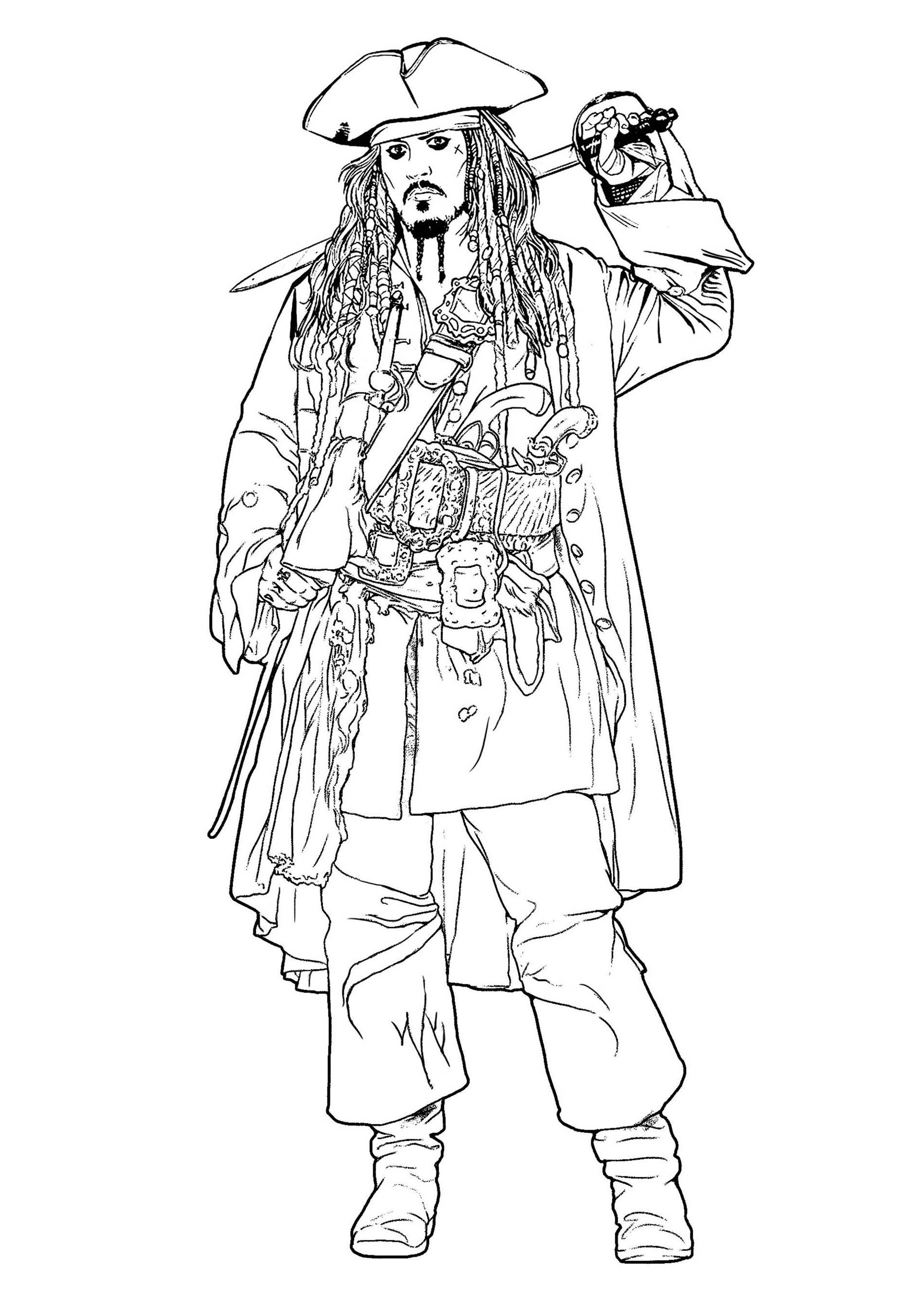 Jack Sparrow Pirates Des Caraïbes - Coloriage Pirates Des concernant Zou Coloriage