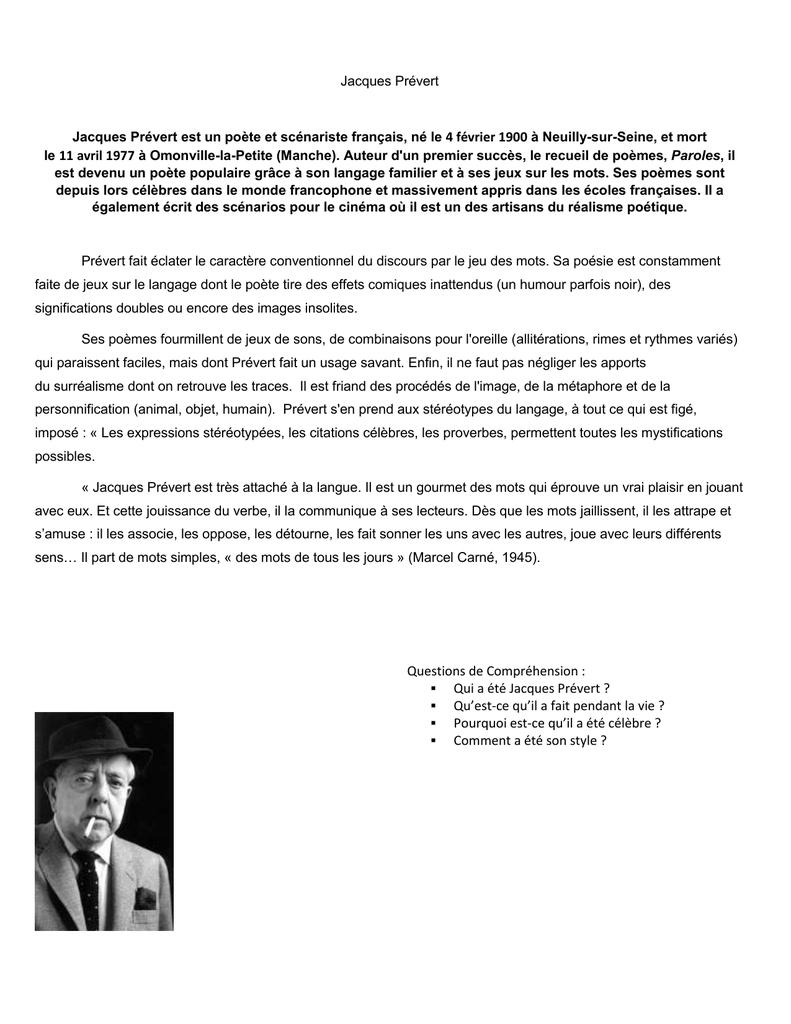 Jacques Prévert Jacques Prévert Est Un Poète Et Scénariste dedans Poeme De Jacque Prevert