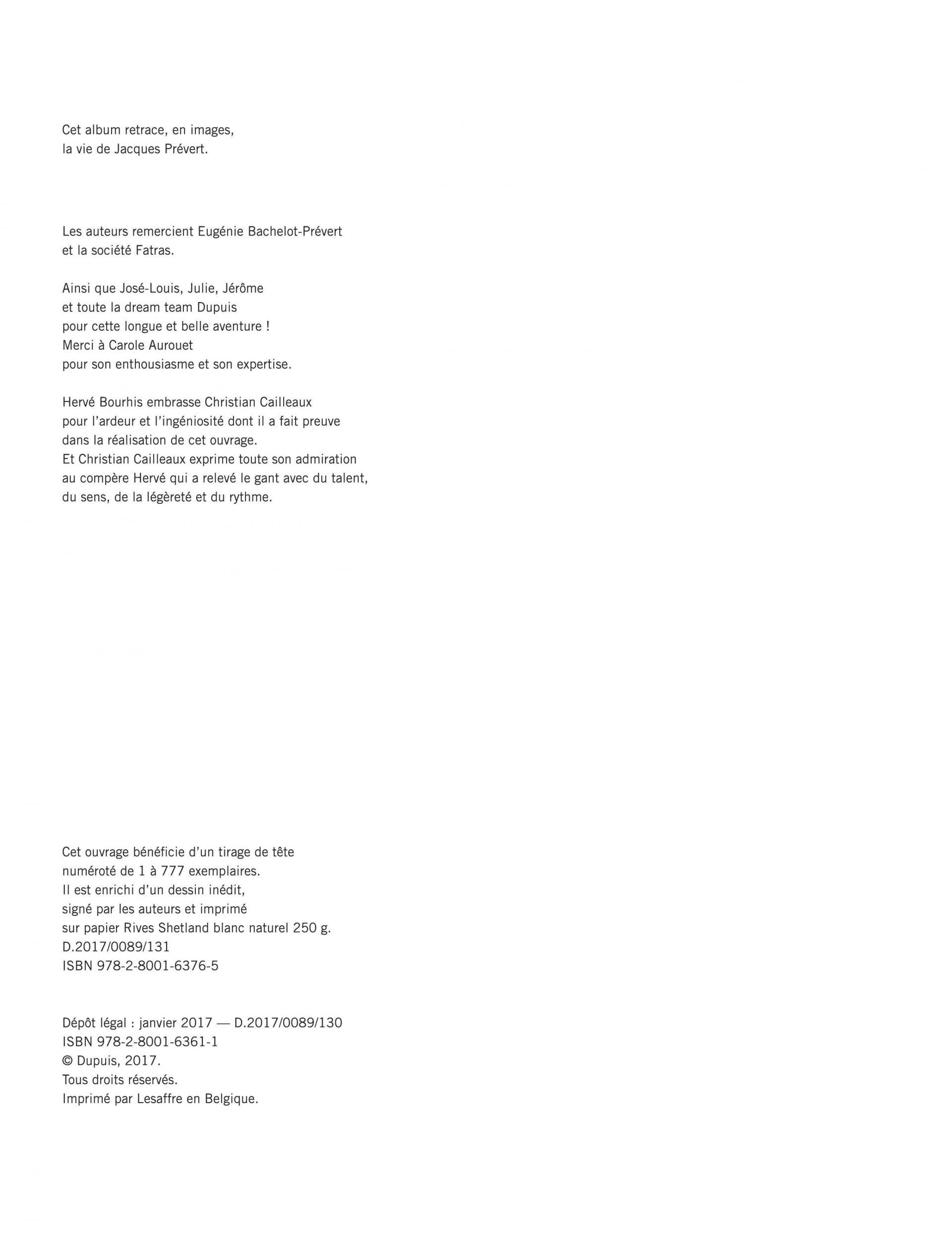 Jacques Prévert N'est Pas Un Poète, Bd Et Tomes Sur Zoo dedans Poeme De Jacque Prevert