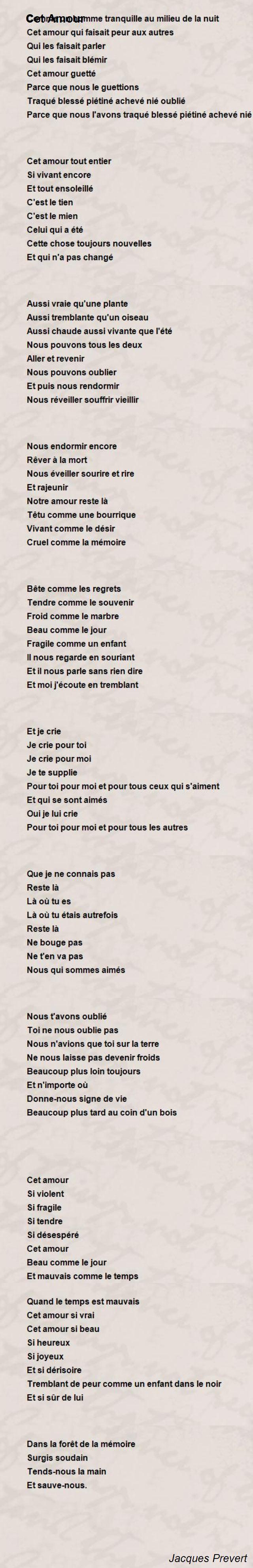 Jacques Prevert Poems à Poeme De Jacque Prevert