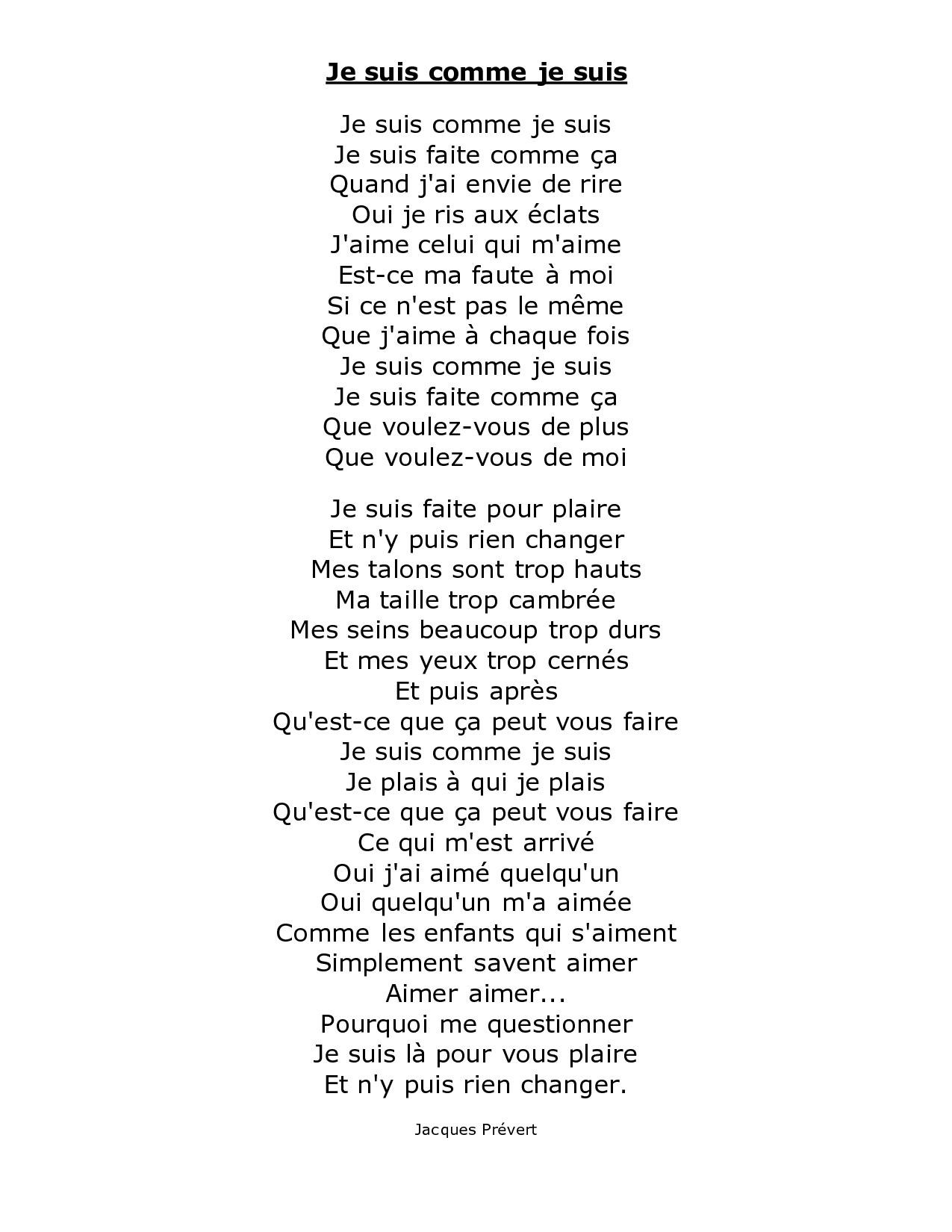 Je Suis Comme Je Suis By Jacques Prevert (Avec Images pour Poeme De Jacque Prevert