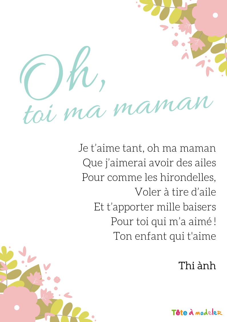 Je T'aime Tant, Oh Ma Maman – Un Poème Pour Maman Avec Tête encequiconcerne Texte Maman Je T Aime