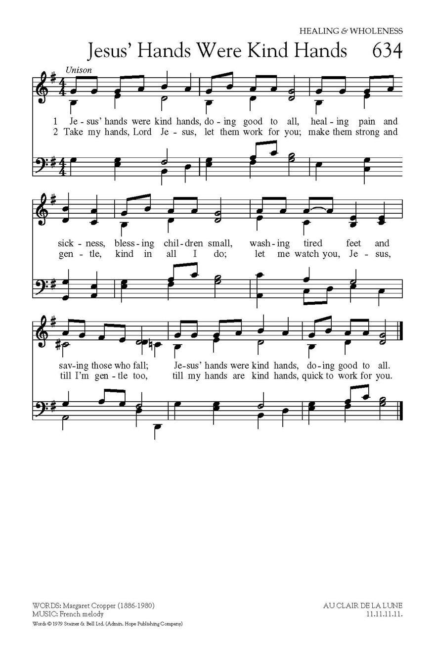 Jesus' Hands Were Kind Ha - Hope Publishing Company intérieur Clair De La Lune Lyrics