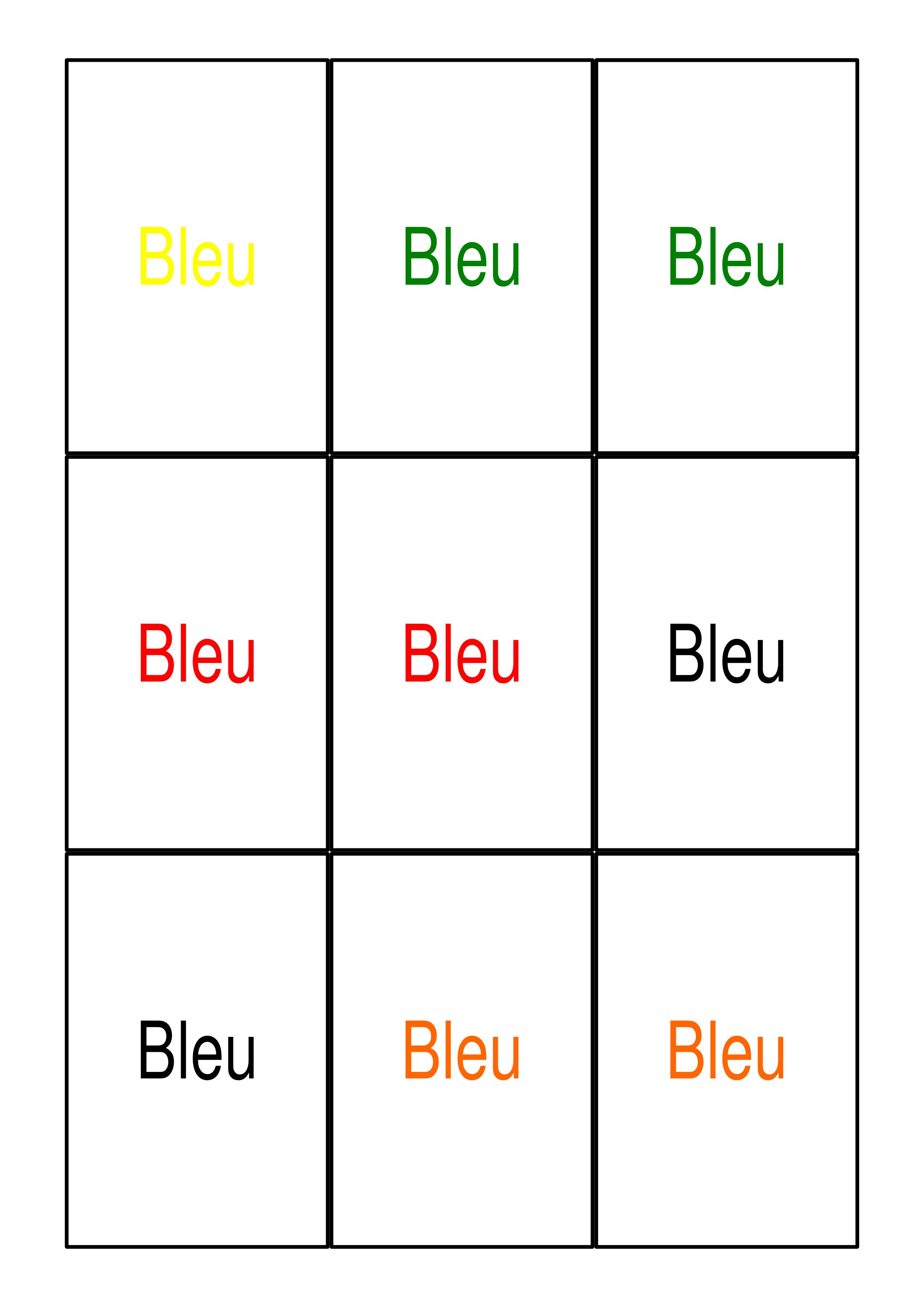Jeu Cartes Colorées (Pour L'entraînement De L'attention Et à Jeux De Concentration À Imprimer