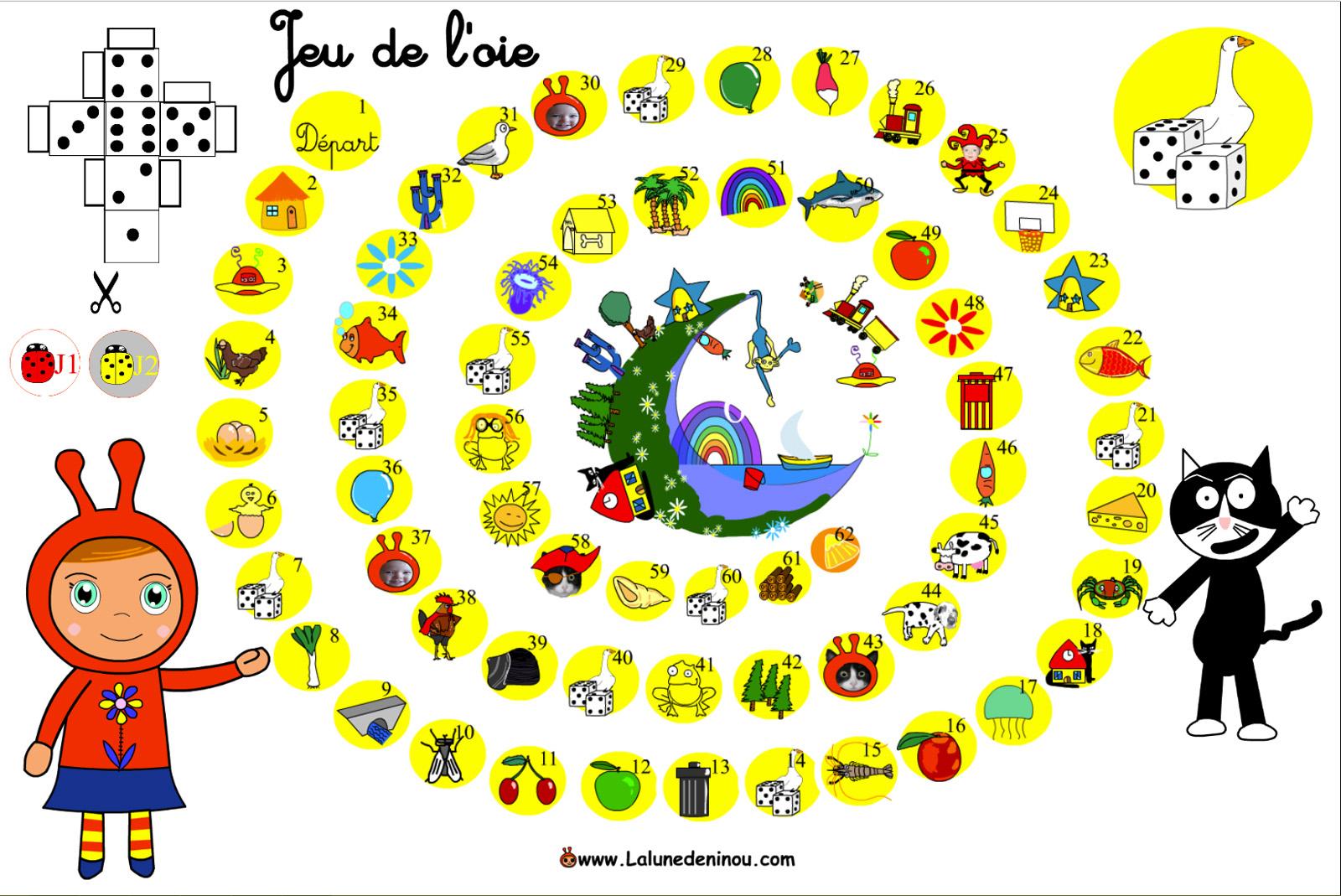Jeu De L'oie En Ligne - Lalunedeninou destiné Jeux Enfant Gratuit En Ligne