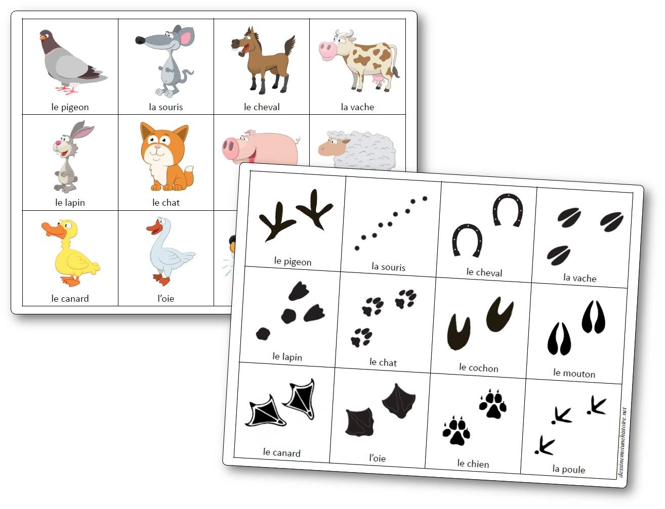Jeu De Mémoire Des Empreintes D'animaux De La Ferme - Jeu destiné Jeux De Mémoire Visuelle À Imprimer