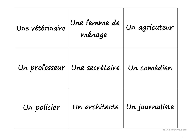 Jeu De Mémoire : Métiers & Professions - Français Fle Fiches concernant Jeux De Mémoire Visuelle À Imprimer