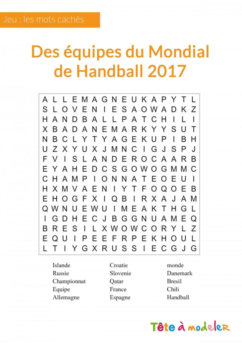 Jeu De Mots Cachés - Championnat Du Monde De Handball tout Jeux De Mots Pour Enfants