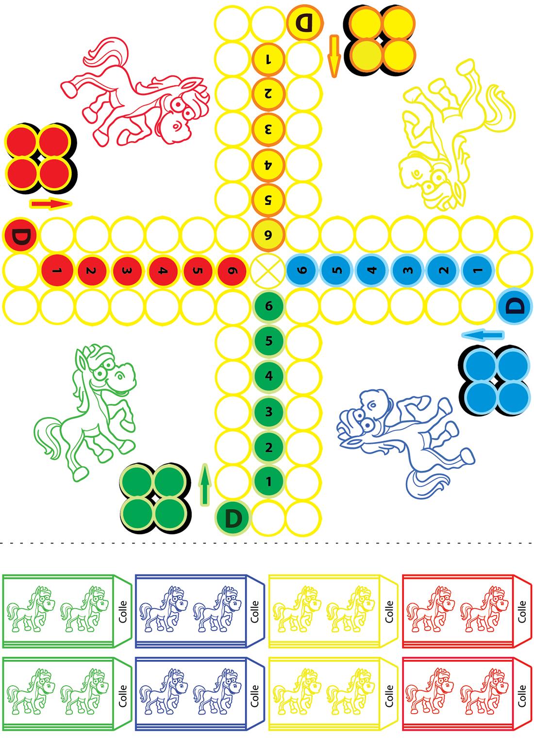 Jeu De Petits Chevaux À Imprimer - Turbulus, Jeux Pour Enfants encequiconcerne Découpage Collage Maternelle À Imprimer