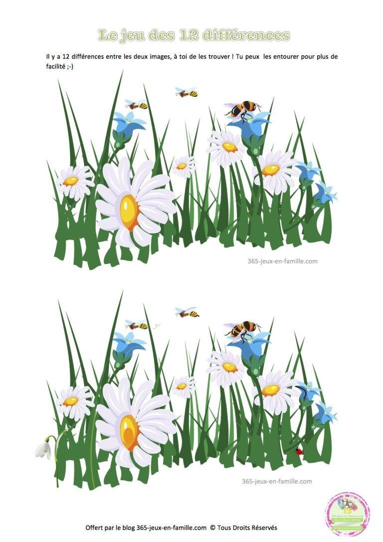 Jeu Des 12 Différences, Printemps, Fleurs, Jeu Gratuit À destiné Jeux De Différence