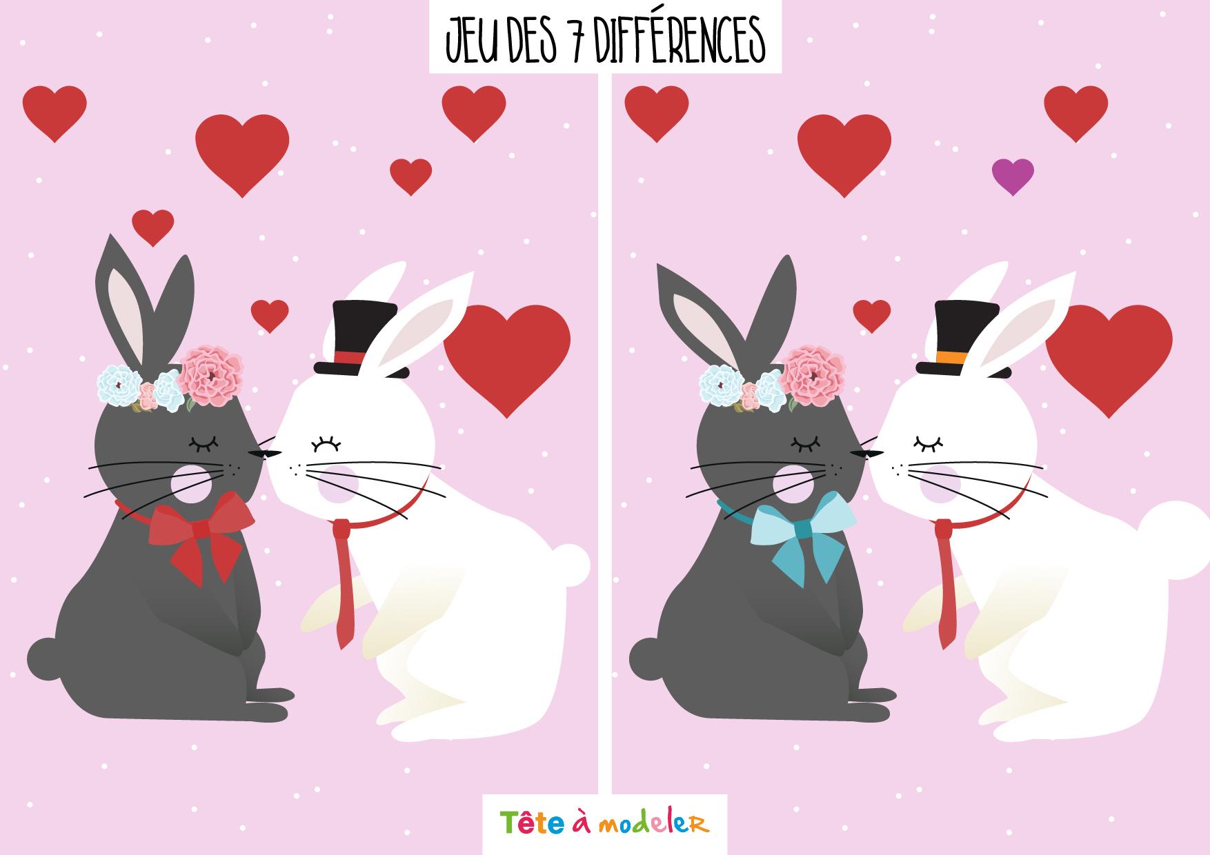 Jeu Des 7 Différences De La Saint Valentin dedans Jeux De Différence