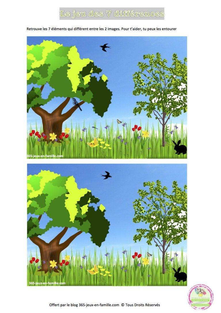 Jeu Des 7 Différences Du Printemps, Jeu Gratuit À Imprimer avec Jeux Des Differences Gratuit