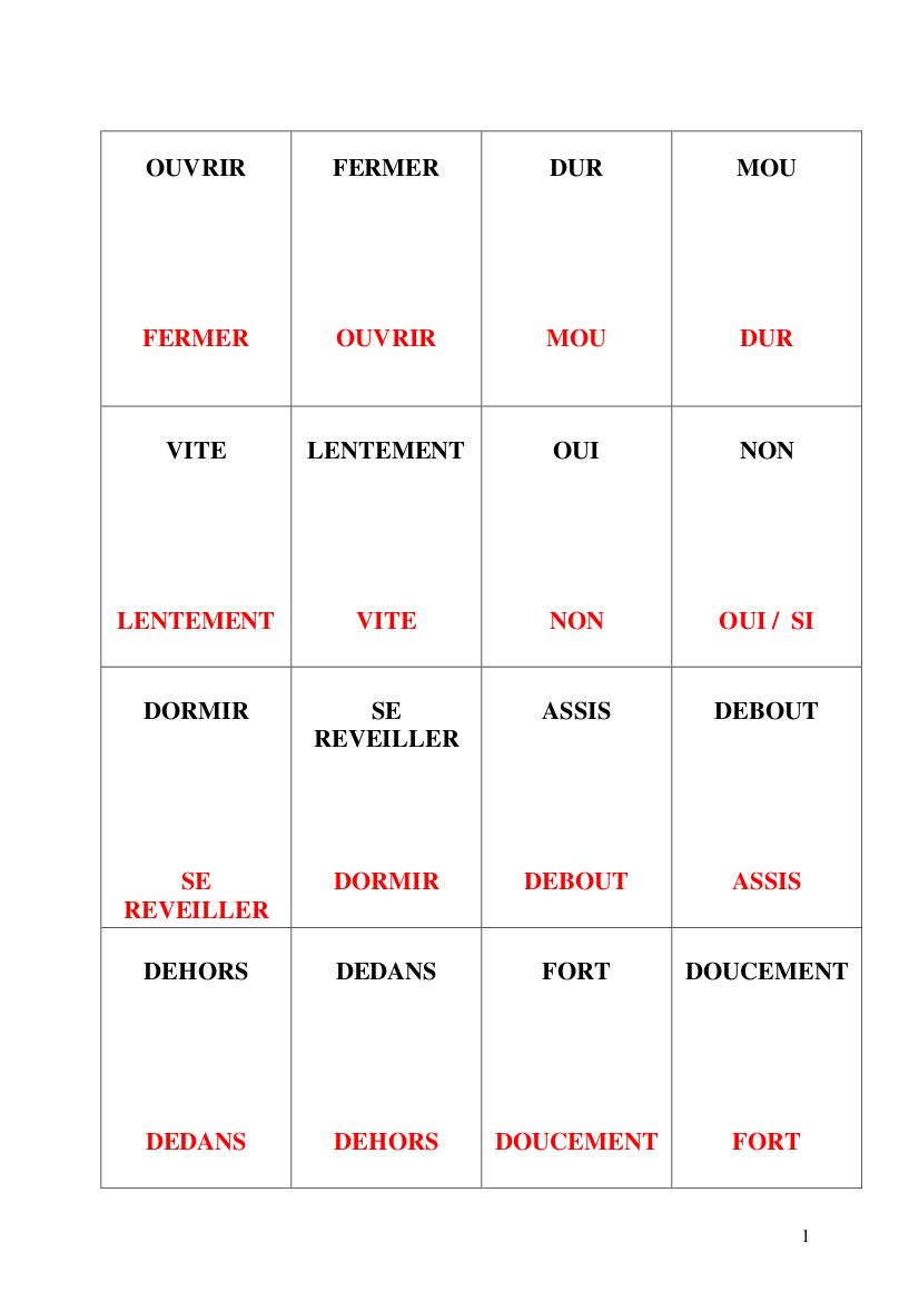 Jeu Des Contraires (Niveaux 1, 2 Et 3) | Orthophonie Et concernant Jeux De Mémoire Visuelle À Imprimer