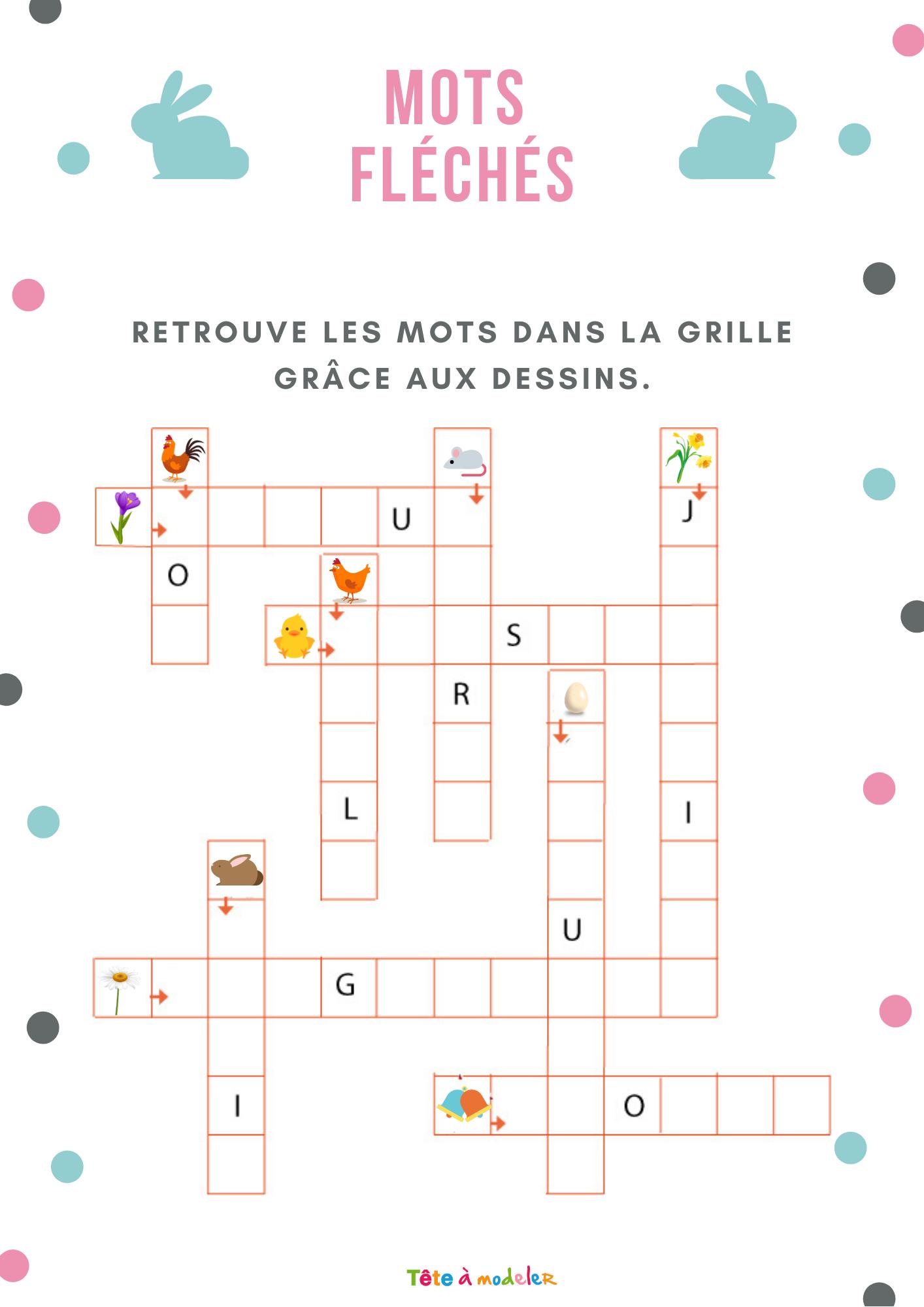Jeu Gratuit À Imprimer : Mots Fléchés : Paques Est Arrivé intérieur Jeux De Mots Pour Enfants