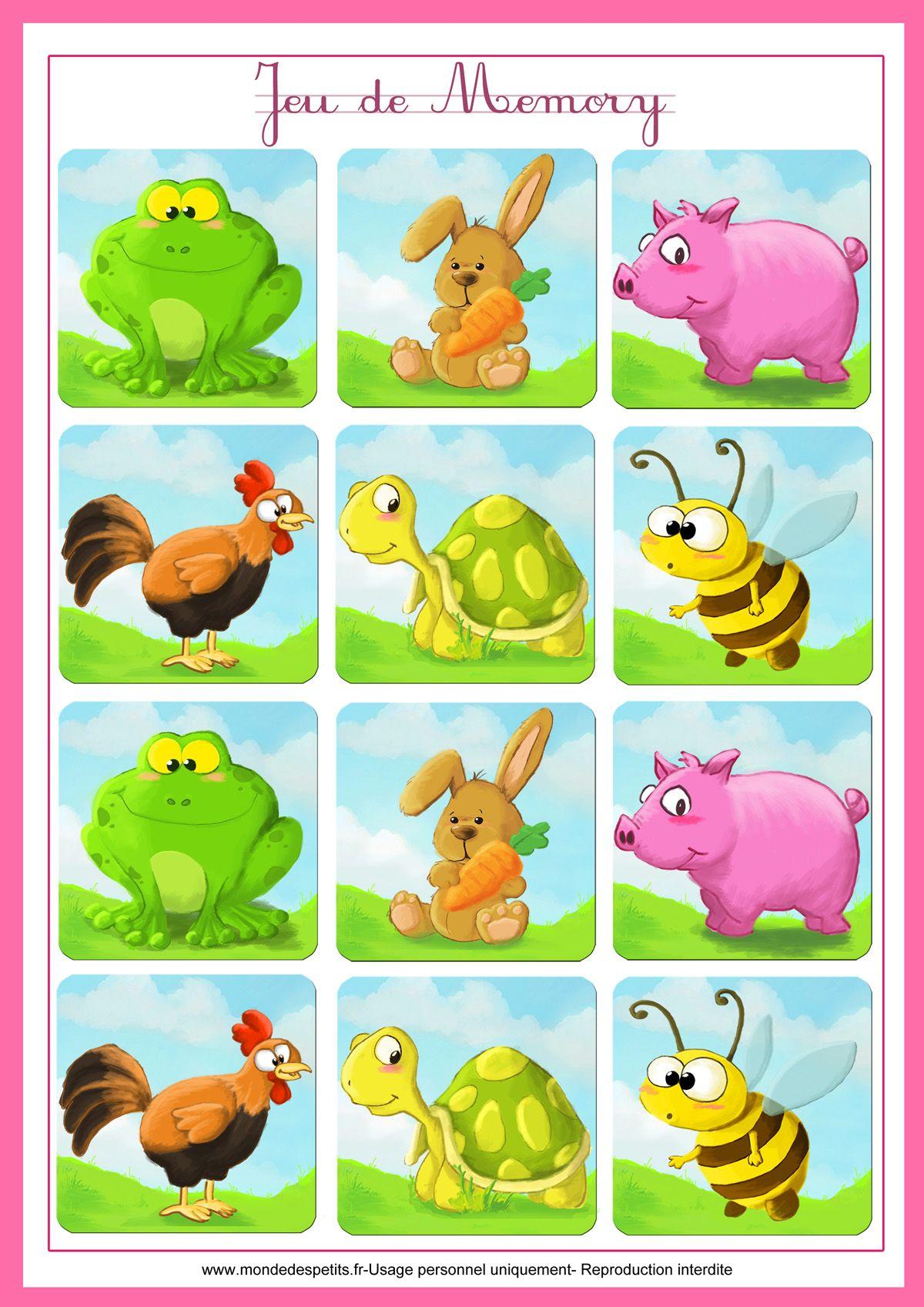 Jeu-Memory-Animaux-Imprimer 1 200×1 697 Пикс | Jeu De serapportantà Jeux De Memoire Enfant