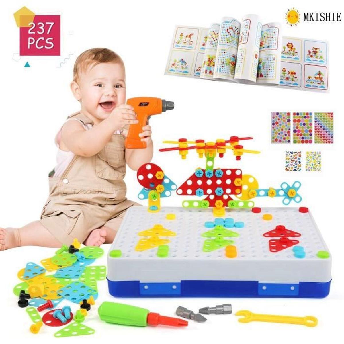Jeu Mosaique Enfant, 3D Jeu De Construction, Perceuse intérieur Jeux Pour Enfant De 3 Ans