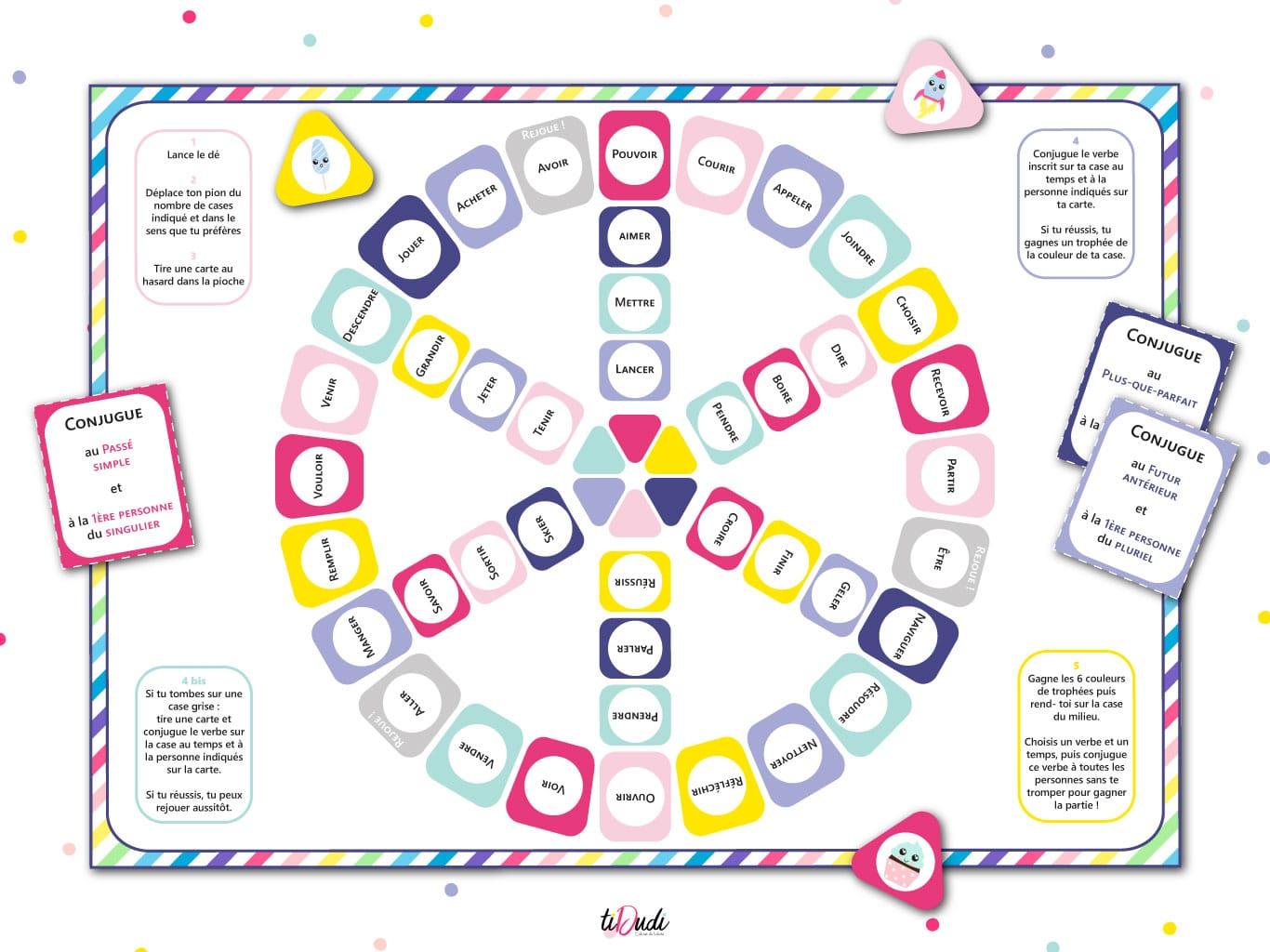 Jeu Pour Apprendre La Conjugaison - Kit Pédagogique - Tidudi intérieur Jeux Pour Apprendre Les Couleurs