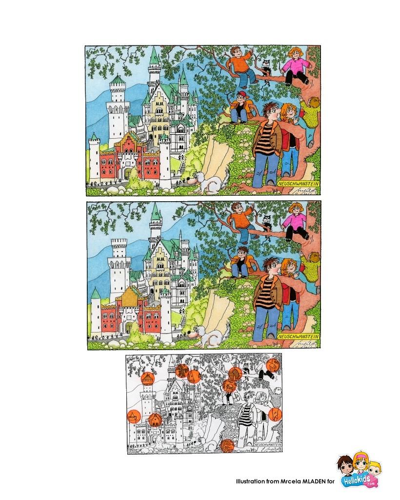 Jeux De Le Château De Neuschwanstein - Fr.hellokids pour Jeux De Différence