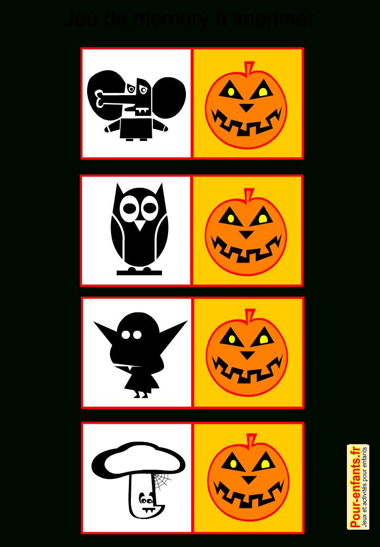 Jeux De Memory Halloween À Imprimer Gratuit Pour Enfants destiné Jeu De Memoire Gratuit