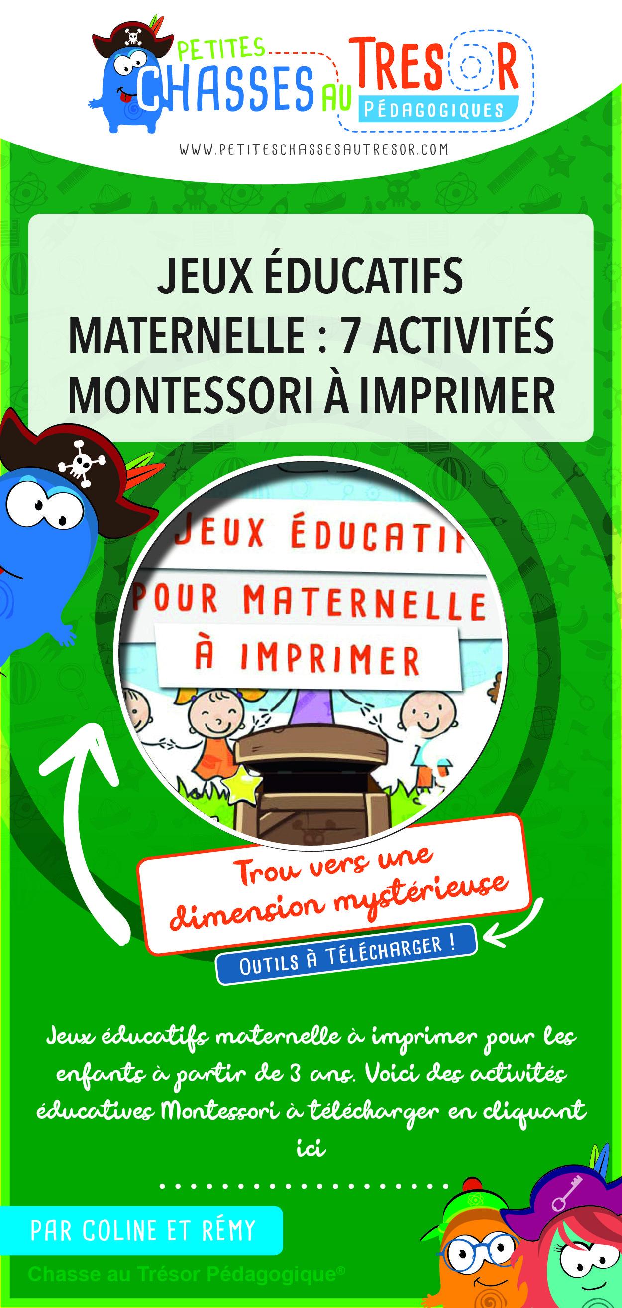 Jeux Éducatifs Maternelle 7 Activités Montessori À Imprimer destiné Jeux Educatif 3 Ans