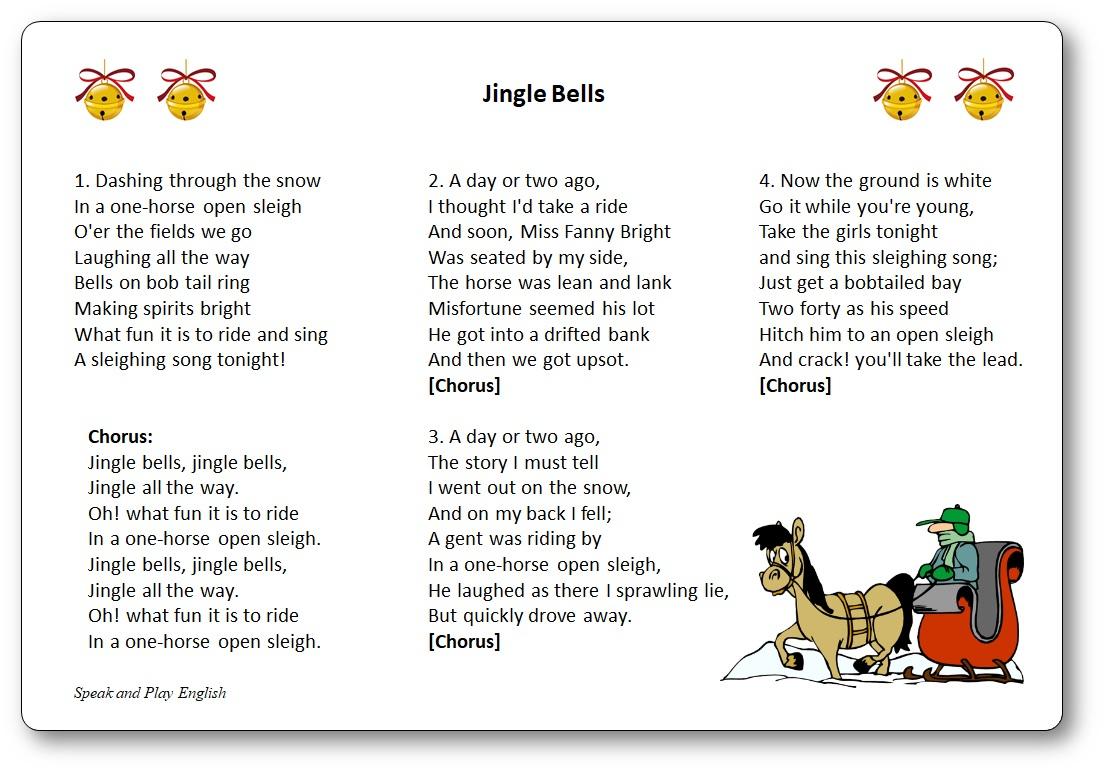 Jingle Bells - Paroles De La Chanson En Anglais Et En avec Chanson De Noel Ecrite