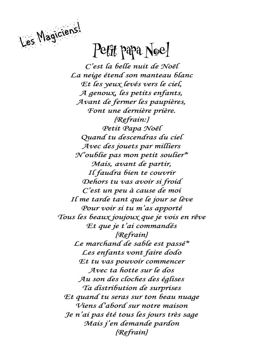 """Joyeux Noël!: Chant_3 """"petit Papa Noël"""" serapportantà Papa Noel Parole"""