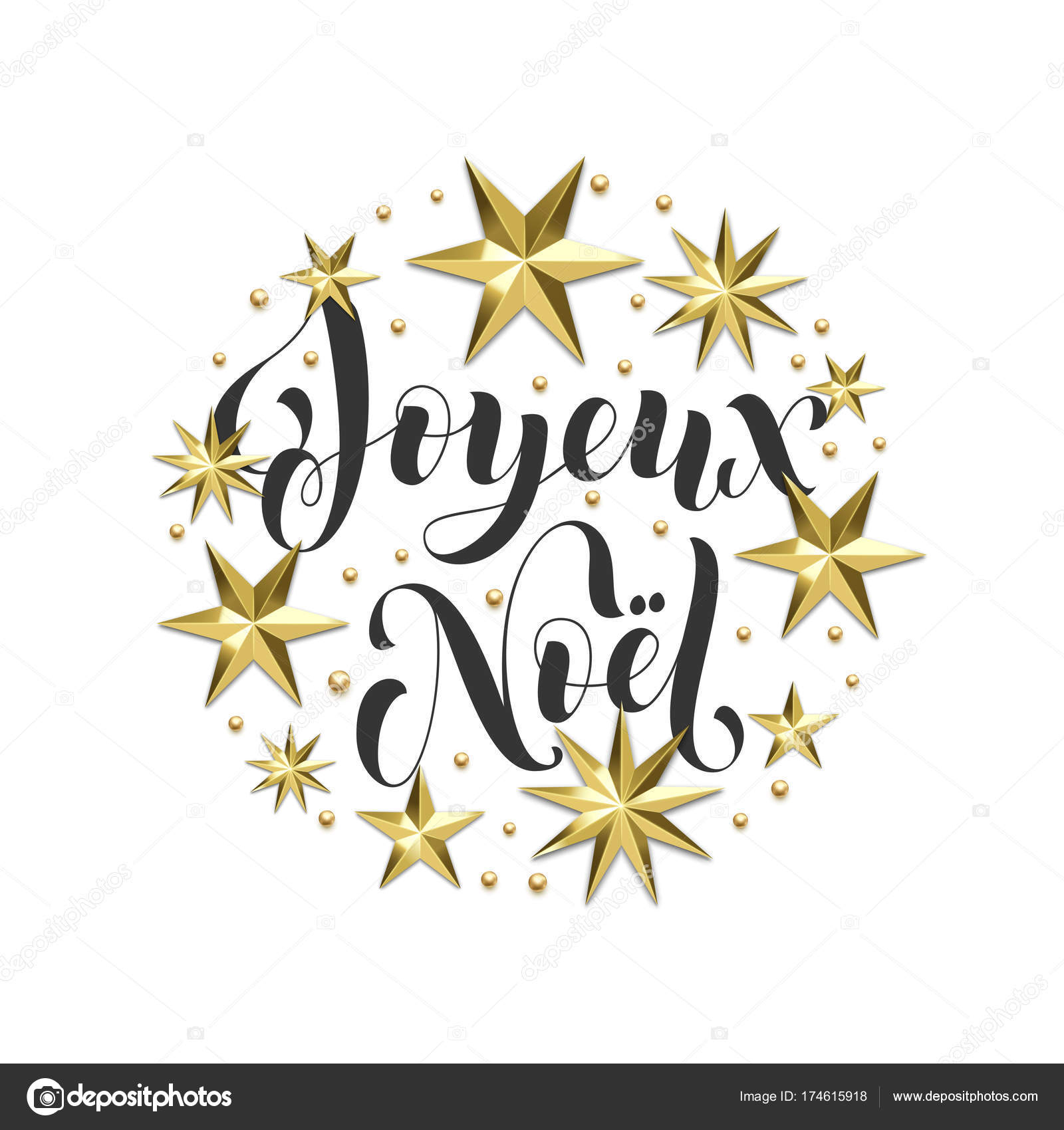 Joyeux Noel French Merry Christmas Golden Decoration concernant Police Ecriture Noel