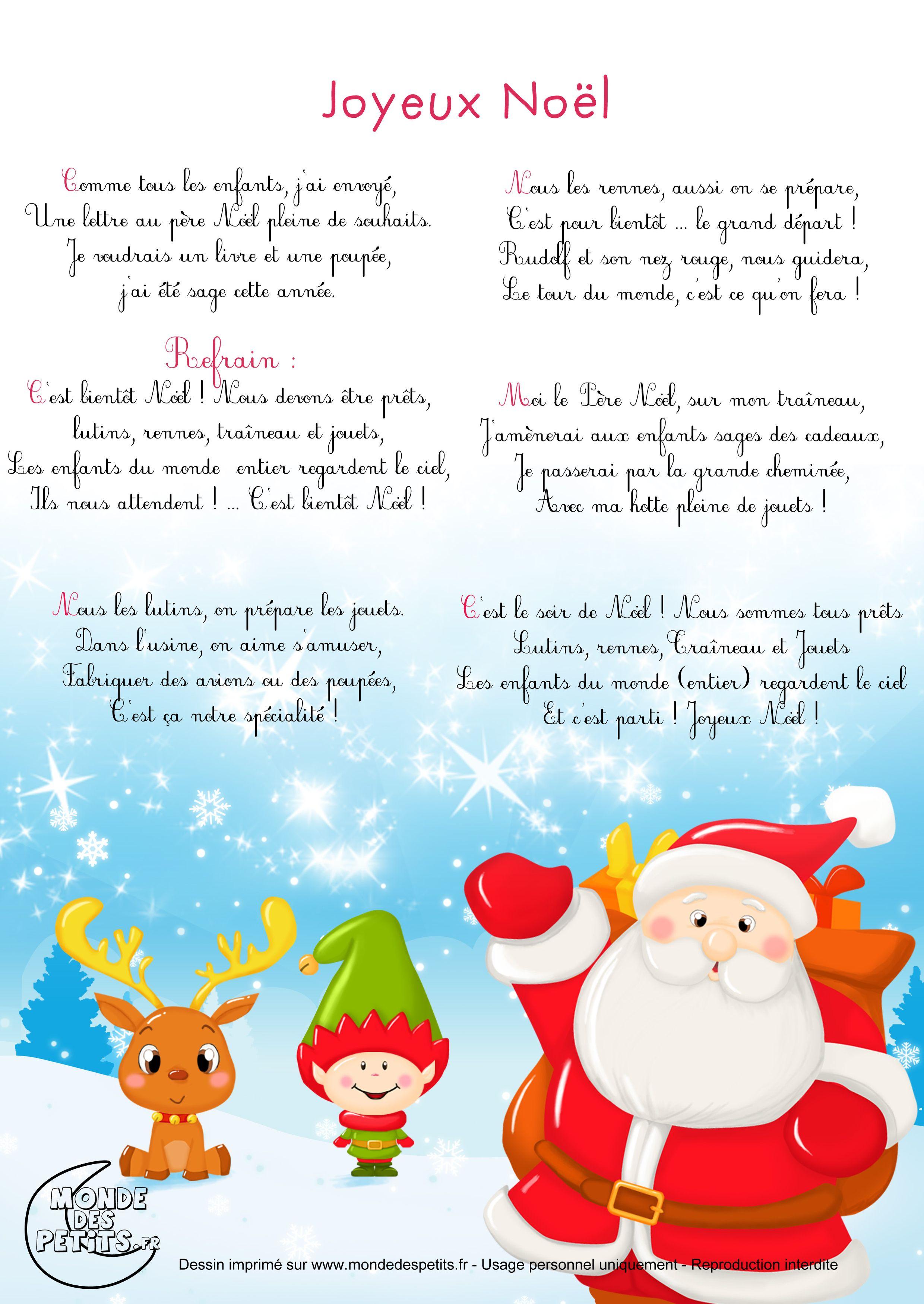 Joyeux Noel : Paroles Du Célèbre Chant De Noël Avec Tête À à Papa Noel Parole