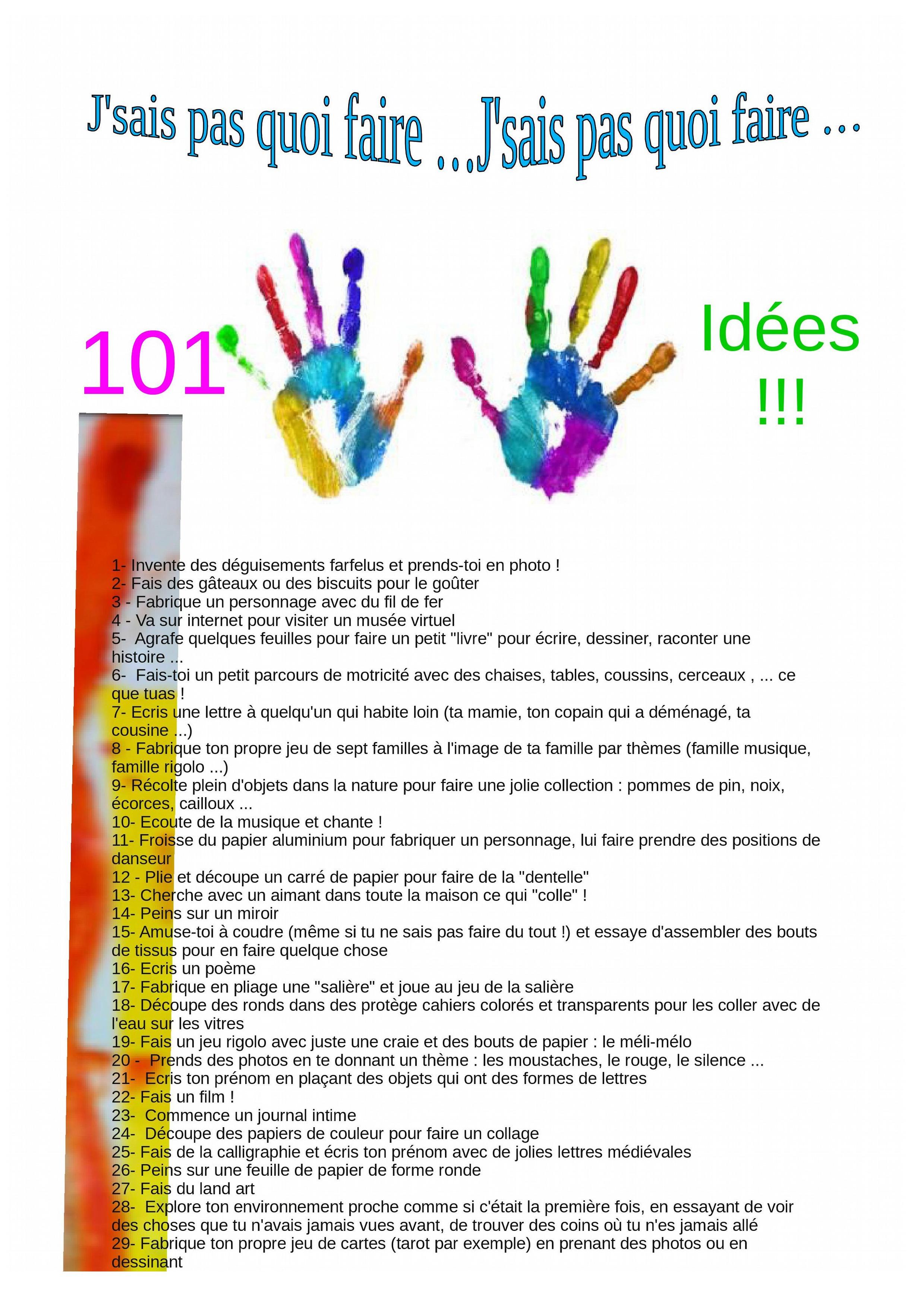 J'sais Pas Quoi Faire … Liste De 101 Idées À Soumettre À encequiconcerne Idées Activités Tap Primaire