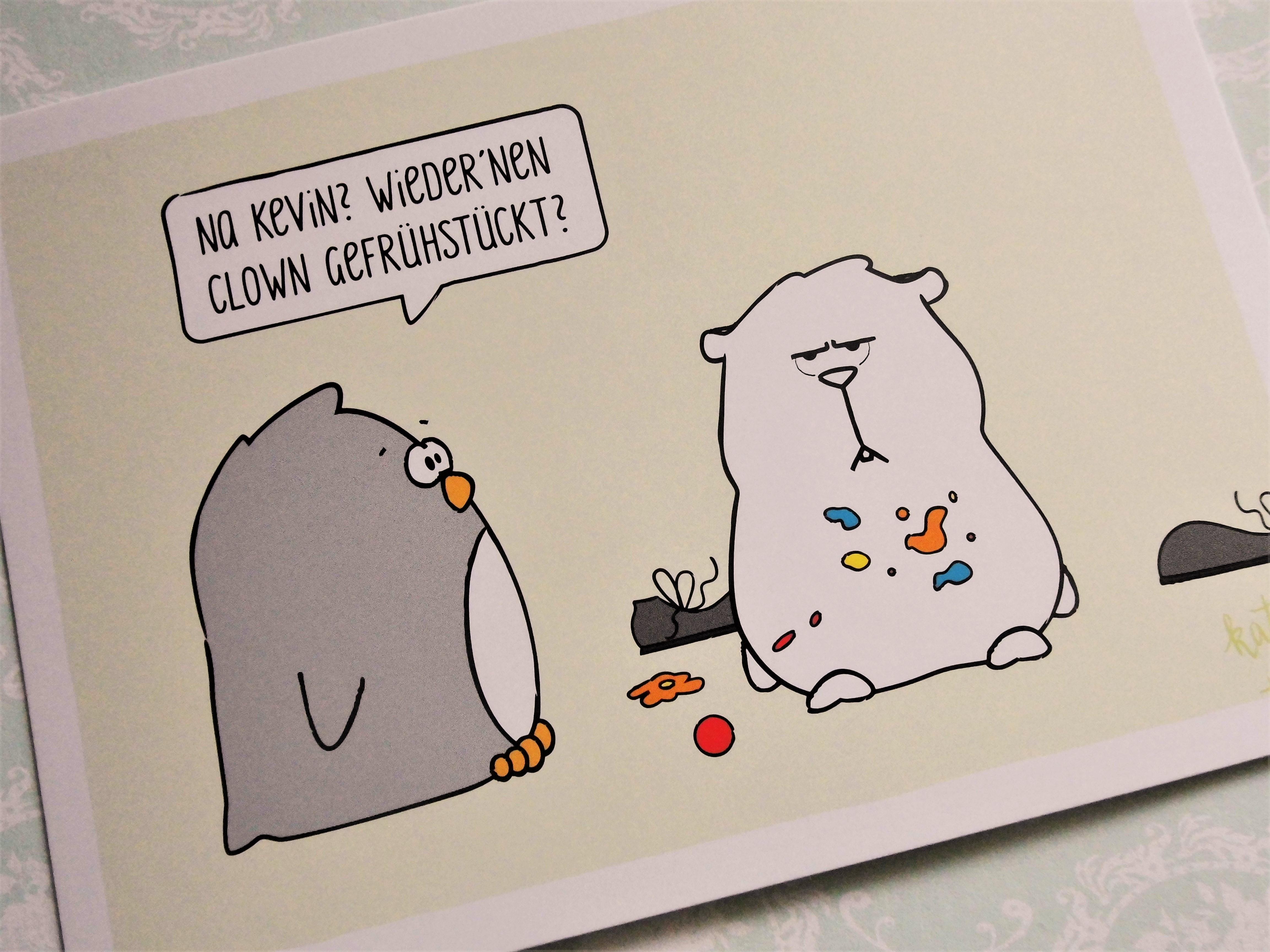 Katz & Tinte Postkarte Clown Gefrühstückt Spruchkarte encequiconcerne Etoil Clown