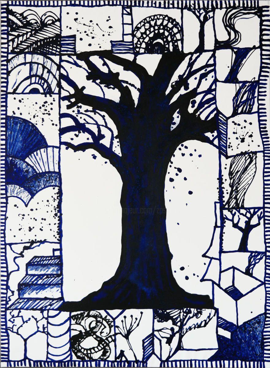 L Arbre Bleu Zp Studio D'après Pierre Alechinsky dedans Oeuvre Alechinsky