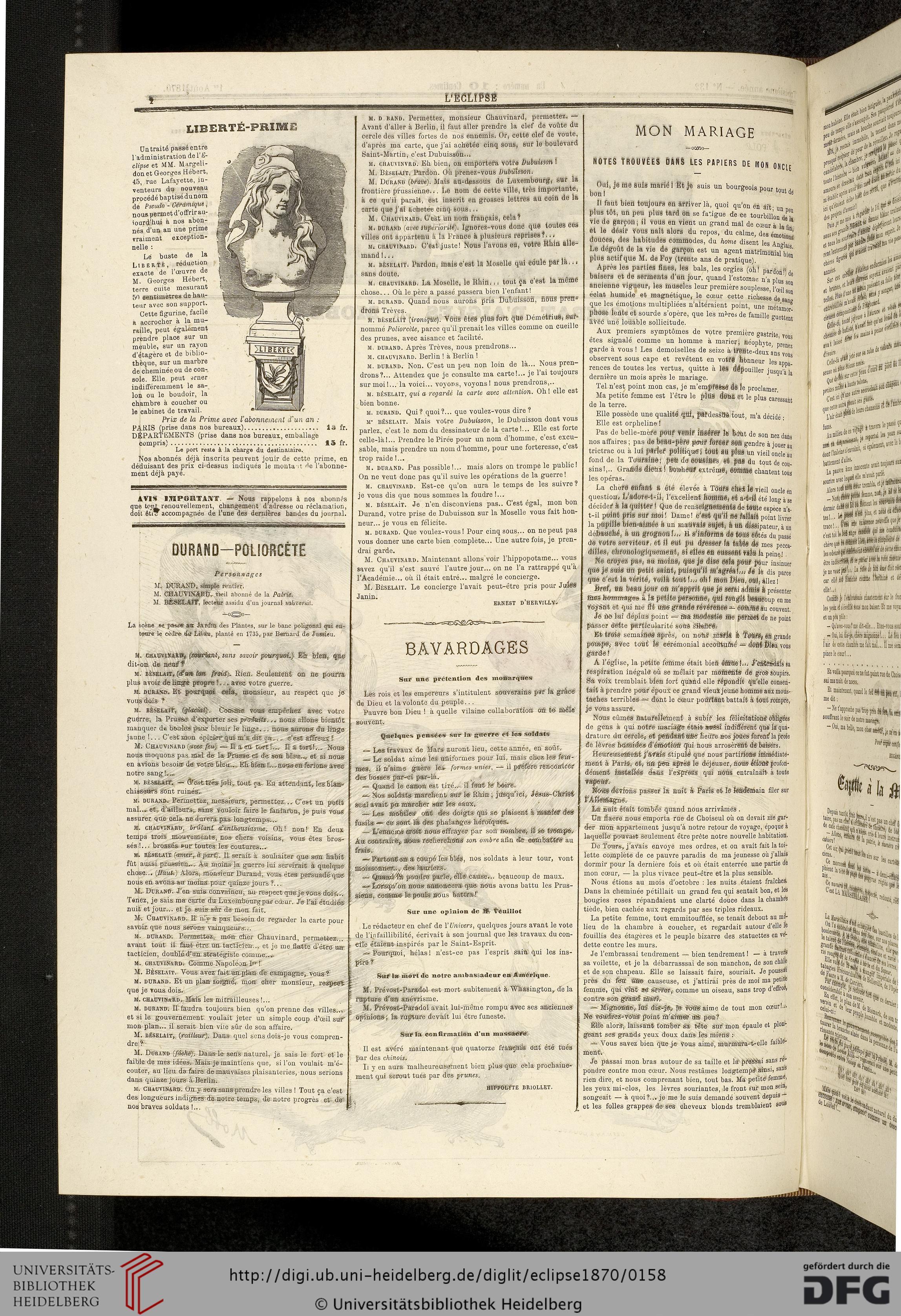 L' Eclipse: Journal Hebdomadaire Politique, Satirique Et tout Chanson Dans Son Manteau Rouge Et Blanc