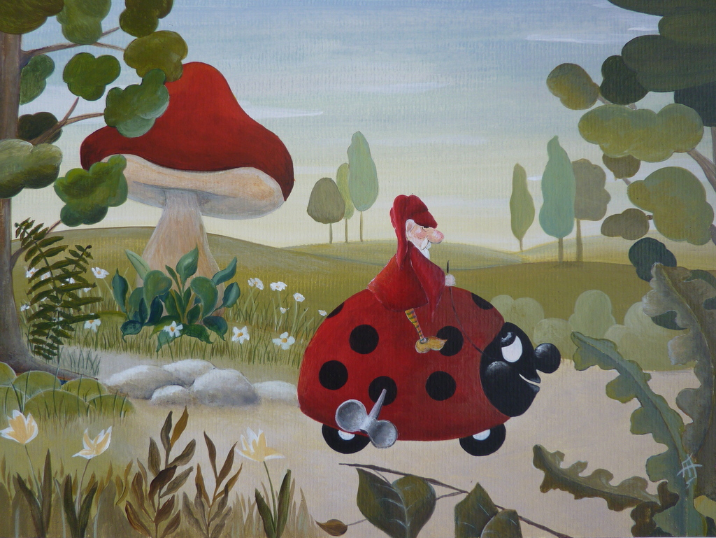 La Coccinelle Mécanique – Peinture Originale Pour Enfant pour Tableau De Peinture Pour Enfant