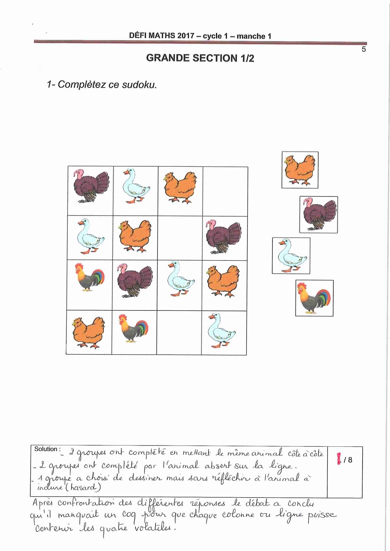 La Consigne 1 De La Manche 1 Des Élèves De Gs De L'école destiné Sudoku Grande Section