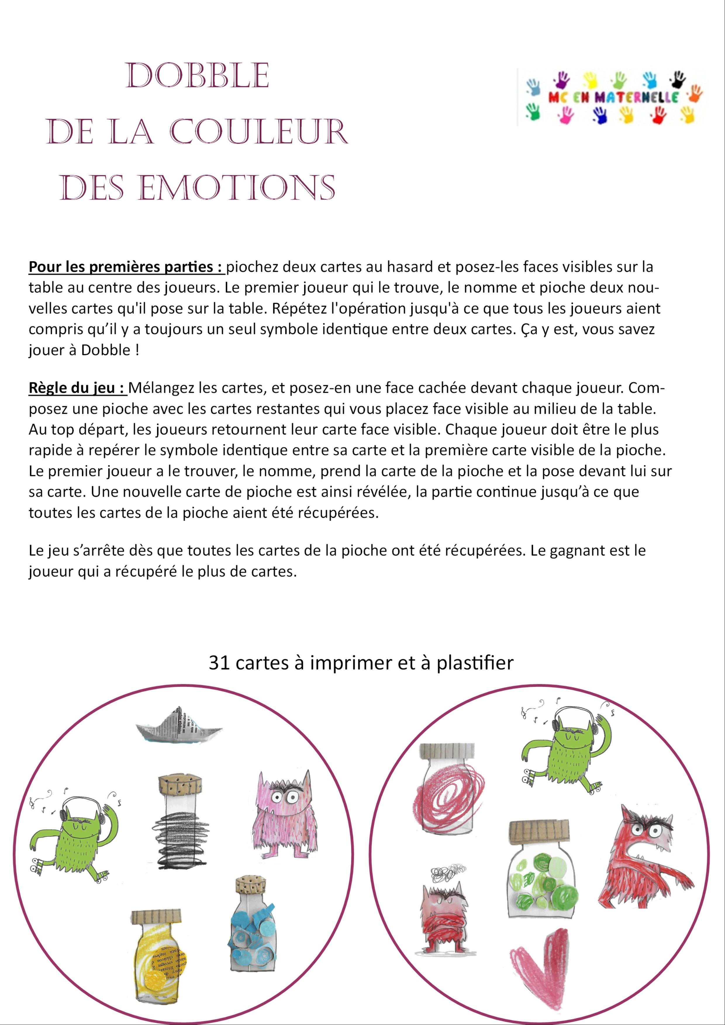 La Couleur Des Émotions : Dobble – Mc En Maternelle à Jeux De Maternelle À Imprimer