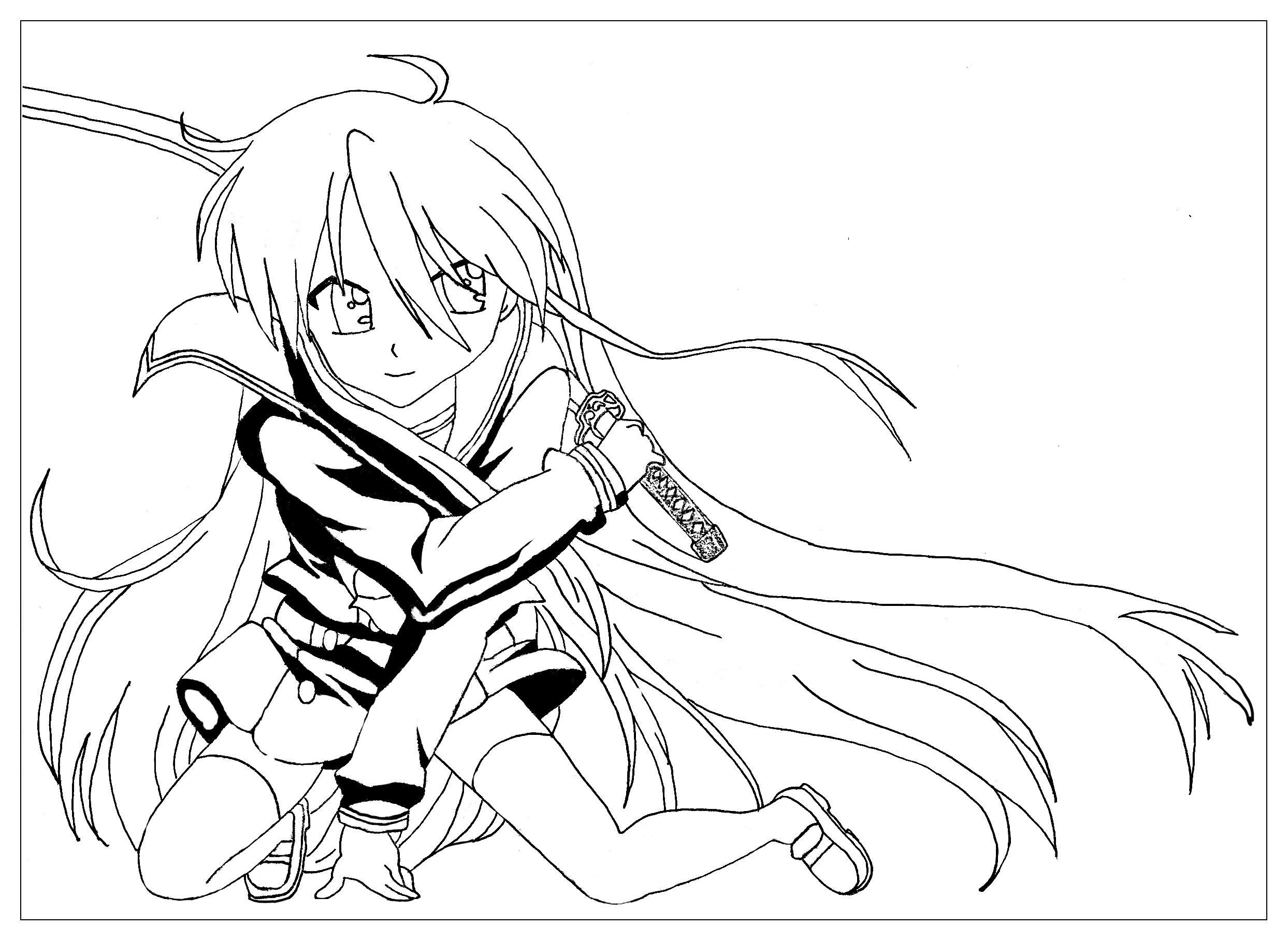 La Fille Au Sabre Style Manga Krissy - Mangas - Coloriages pour Coloriage Manga Kawaii