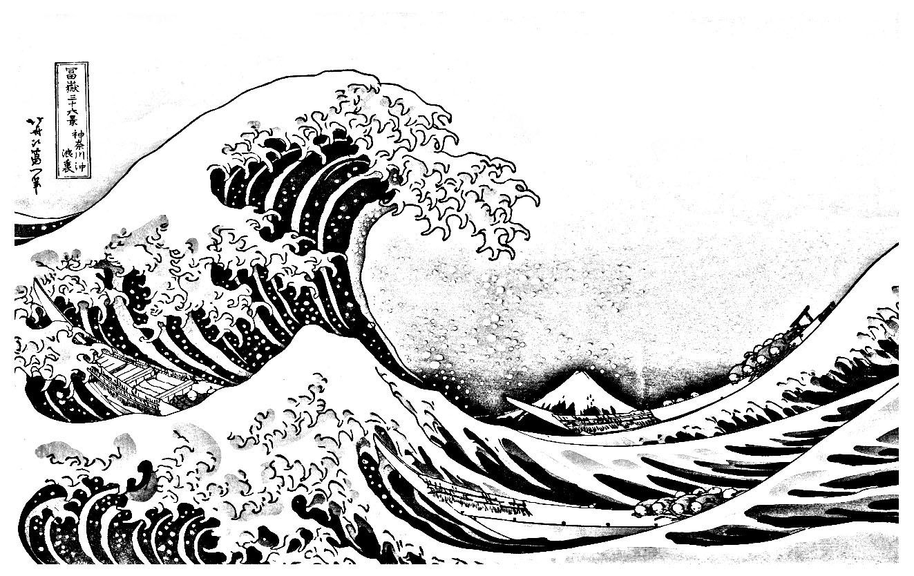 La Grande Vague Kanagawa - Coloriages Japon - Just Color tout Dessin De Vague A Imprimer