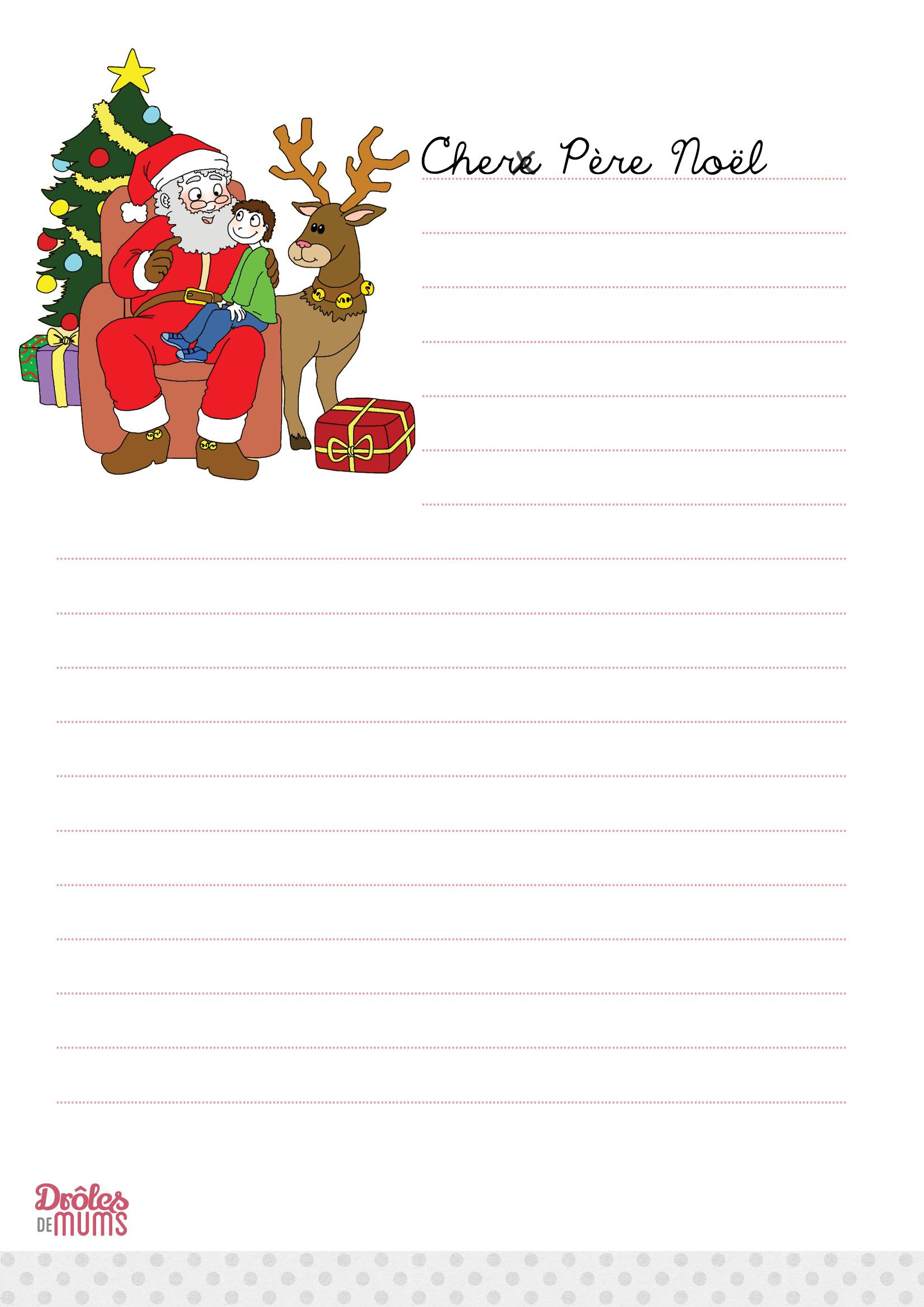 La Lettre Au Père Noël À Imprimer Version Fille - Drôles De Mums intérieur Liste Pere Noel Imprimer