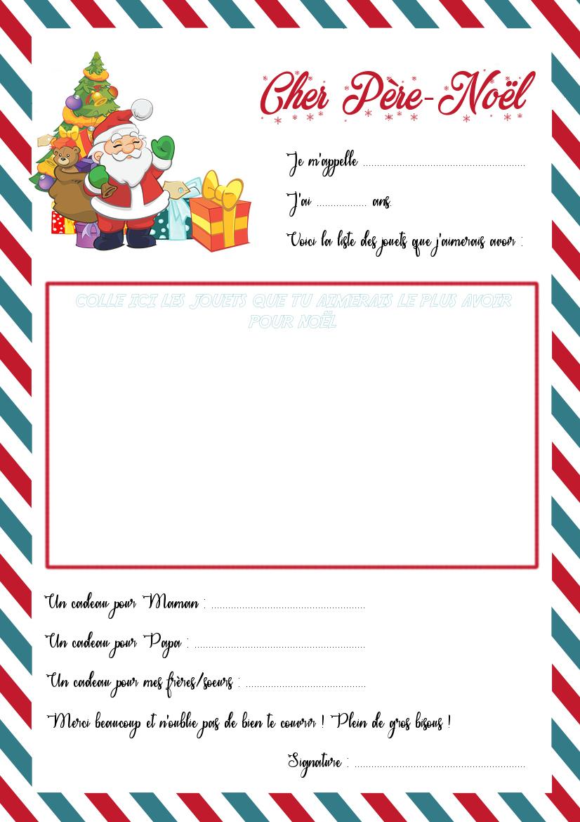 La Lettre Au Père-Noël Et Son Enveloppe À Imprimer - La dedans Liste Pere Noel Imprimer