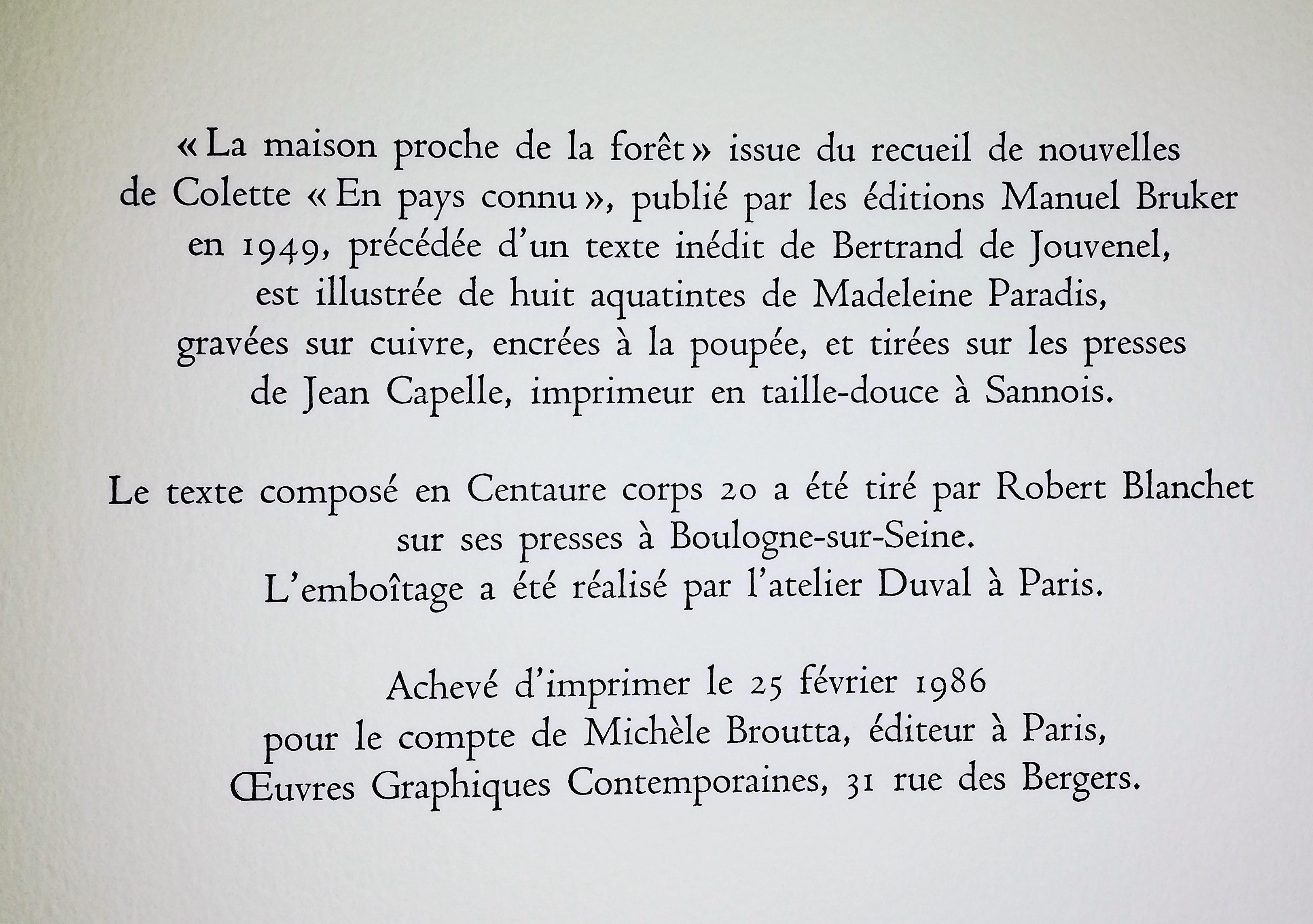 La Maison Proche De La Fôret, Colette (1873-1954) Gravures serapportantà Ateliers Graphiques Ps