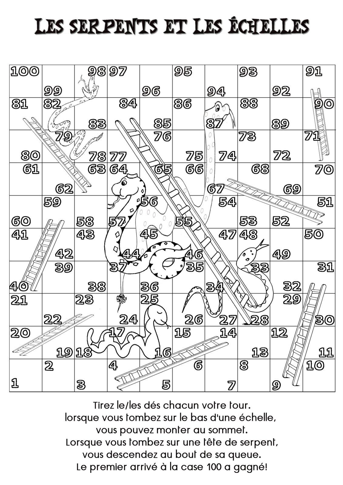 La Maternelle De Laurène: Les Serpents Et Les Échelles à Jeux De Maternelle À Imprimer