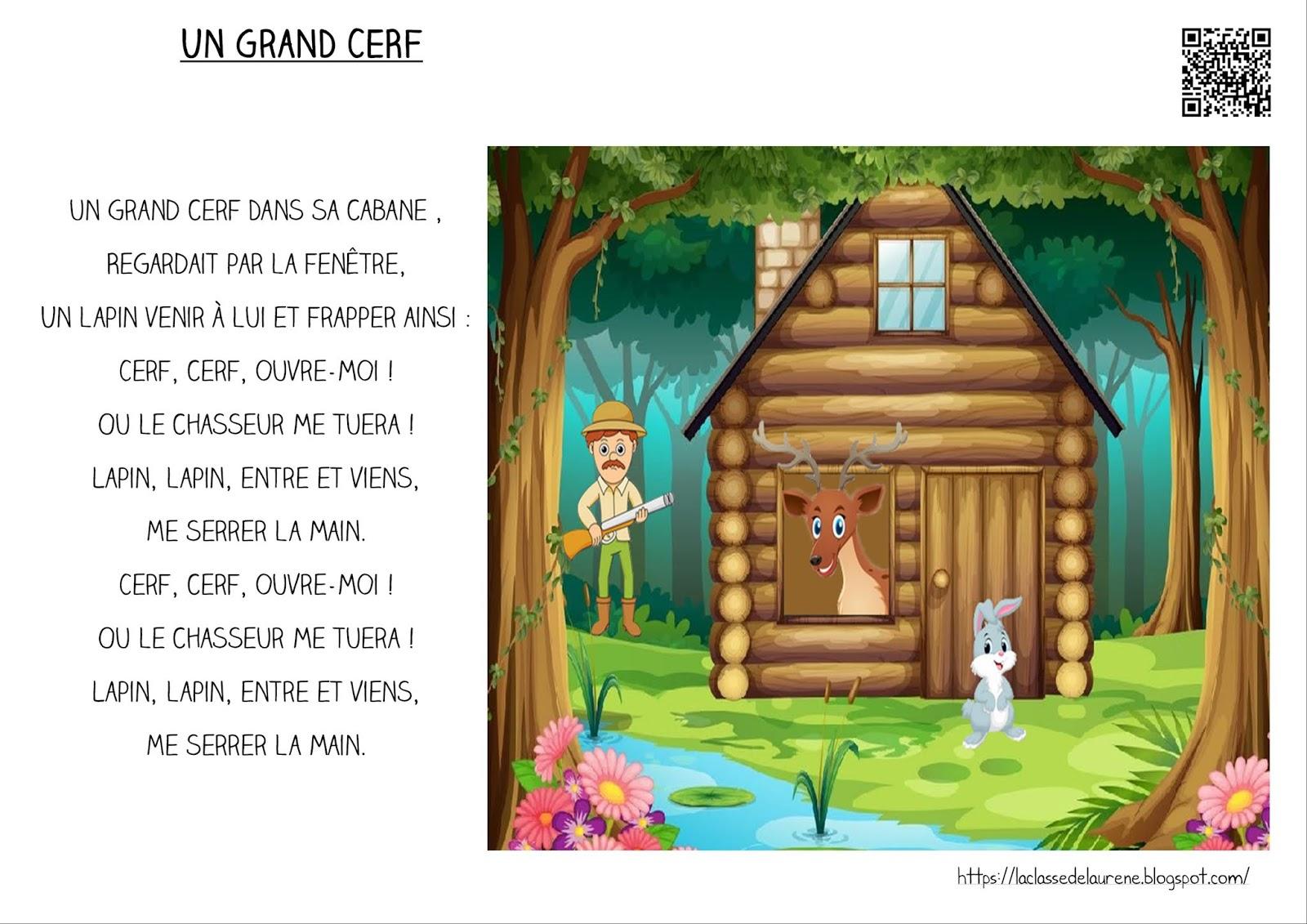 La Maternelle De Laurène: Paroles - Un Grand Cerf encequiconcerne Chanson Du Cerf Et Du Lapin