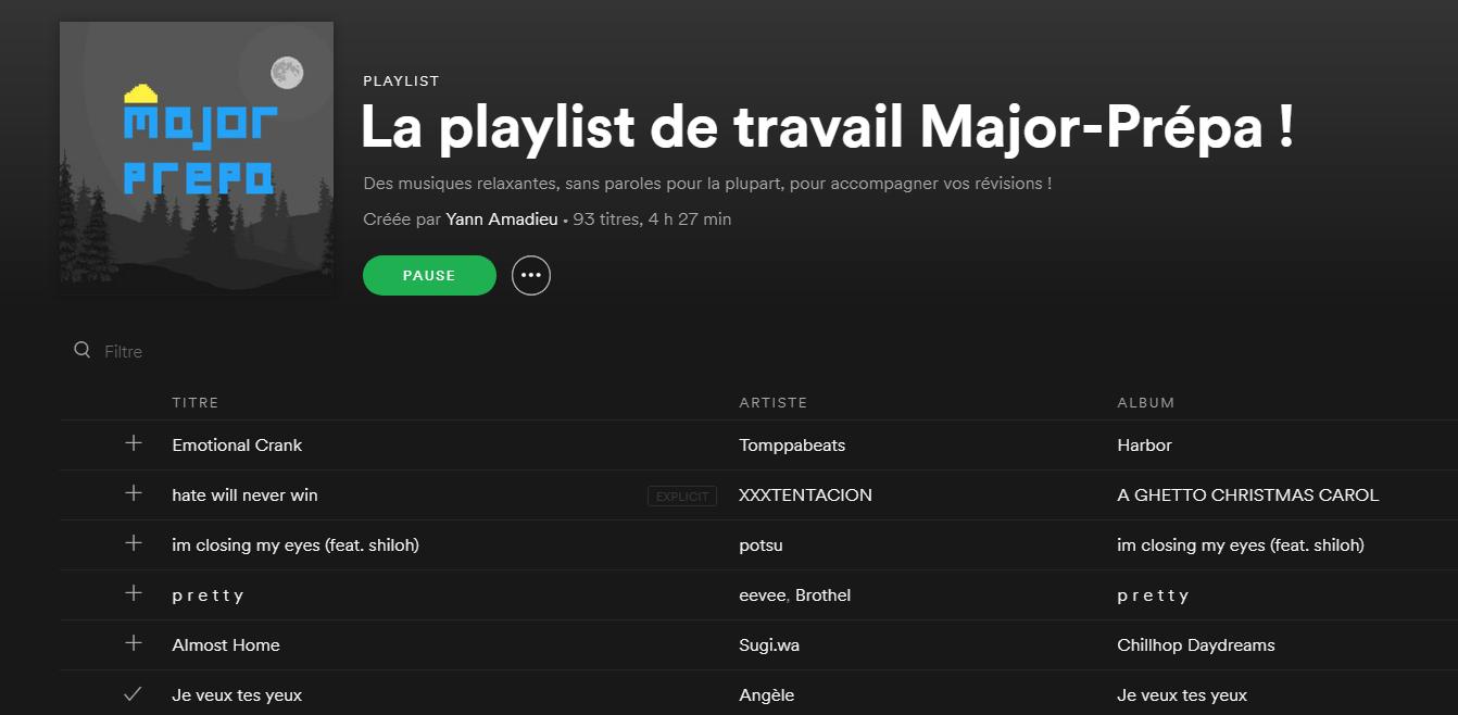 La Playlist De Travail Major-Prépa ! (Spotify) - Major-Prépa destiné Retrouver Une Musique Avec Parole