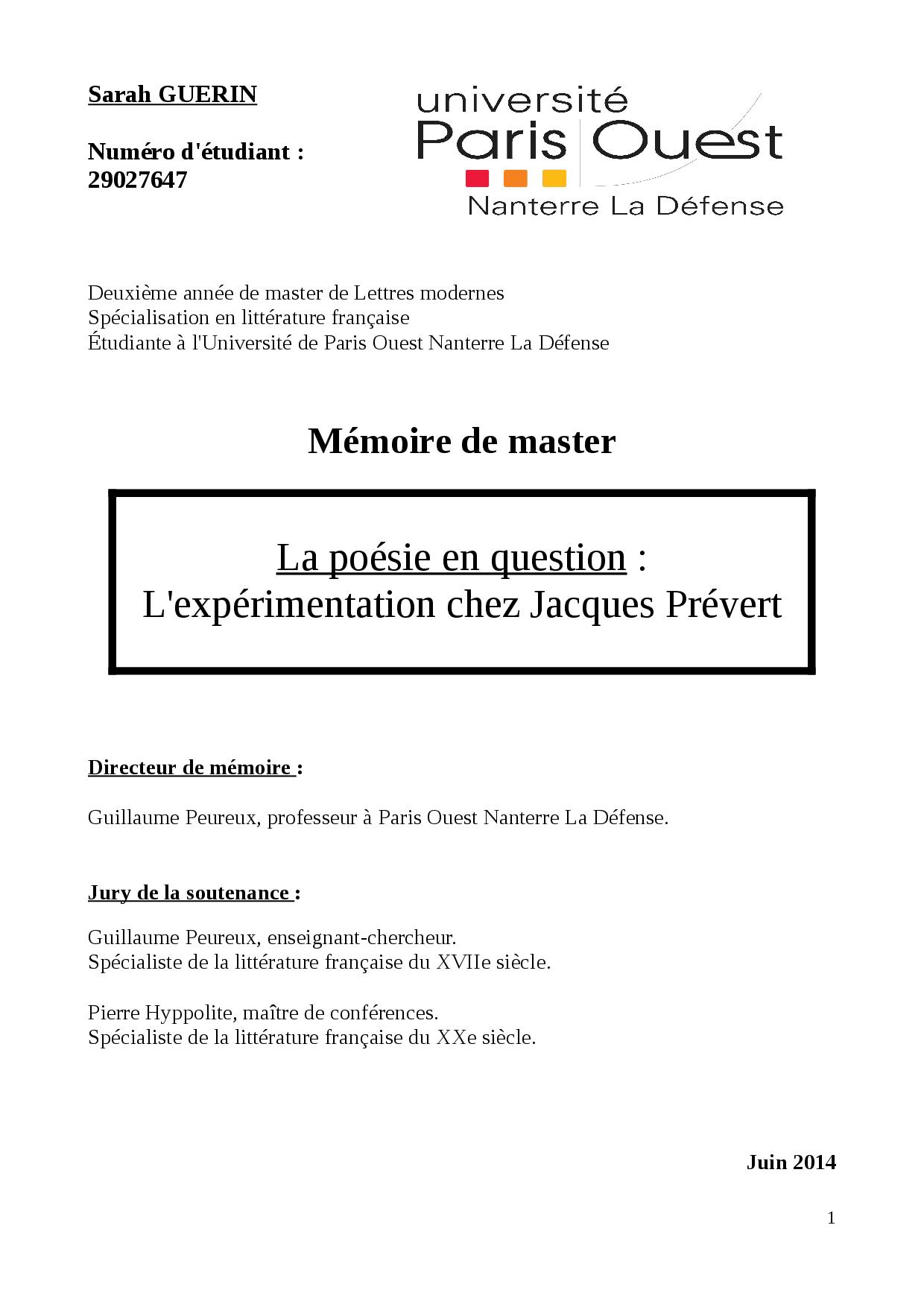 La Poésie En Question: L'expérimentation Chez Jacques avec Poeme De Jacque Prevert